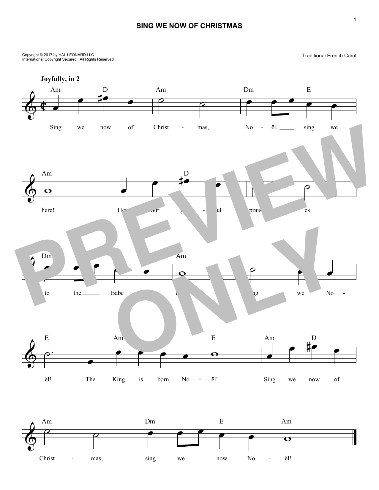 Sing We Now Of Christmas (Lead Sheet / Fake Book)