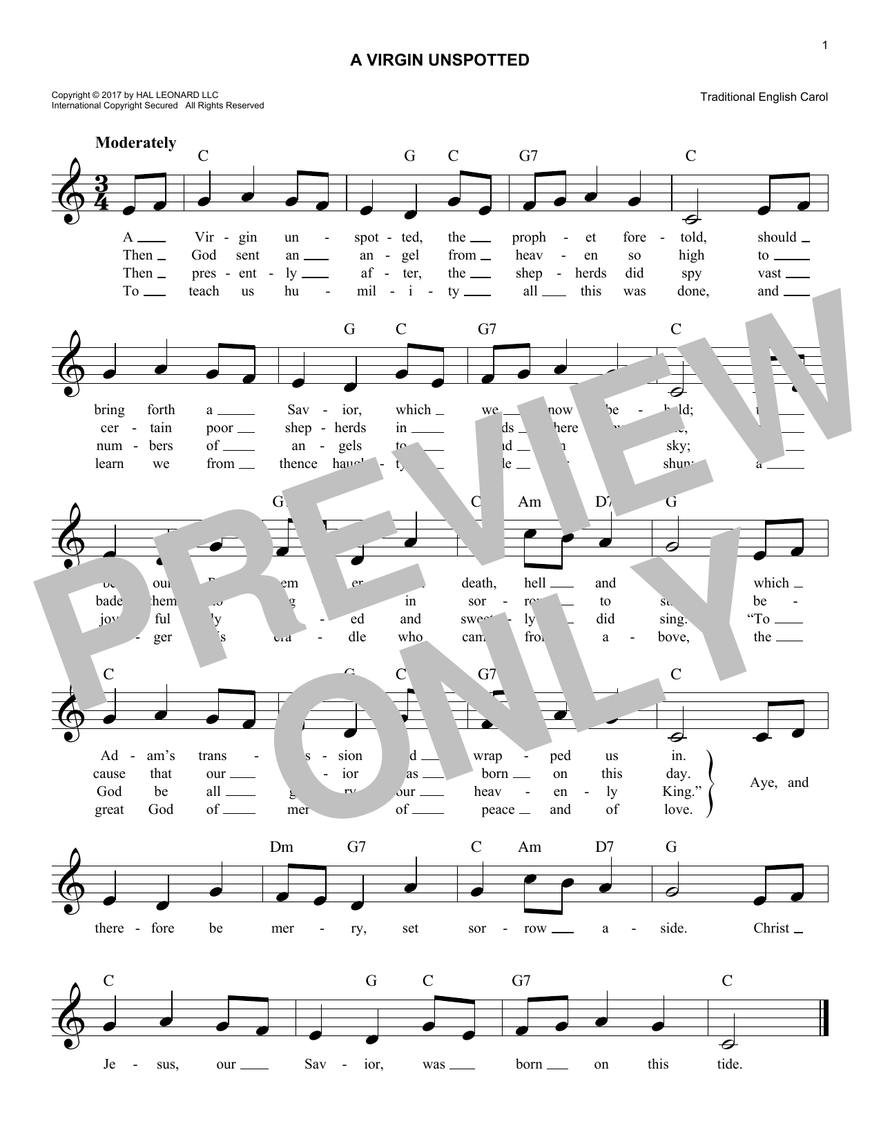 A Virgin Unspotted (Lead Sheet / Fake Book)