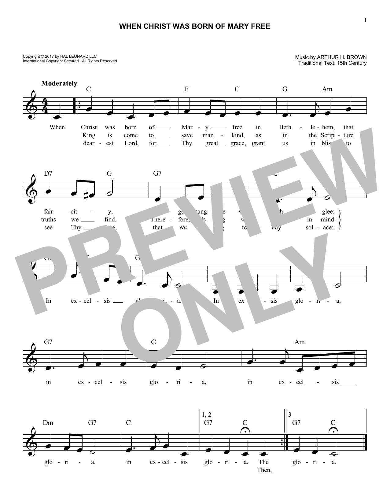 When Christ Was Born Of Mary Free (Lead Sheet / Fake Book)