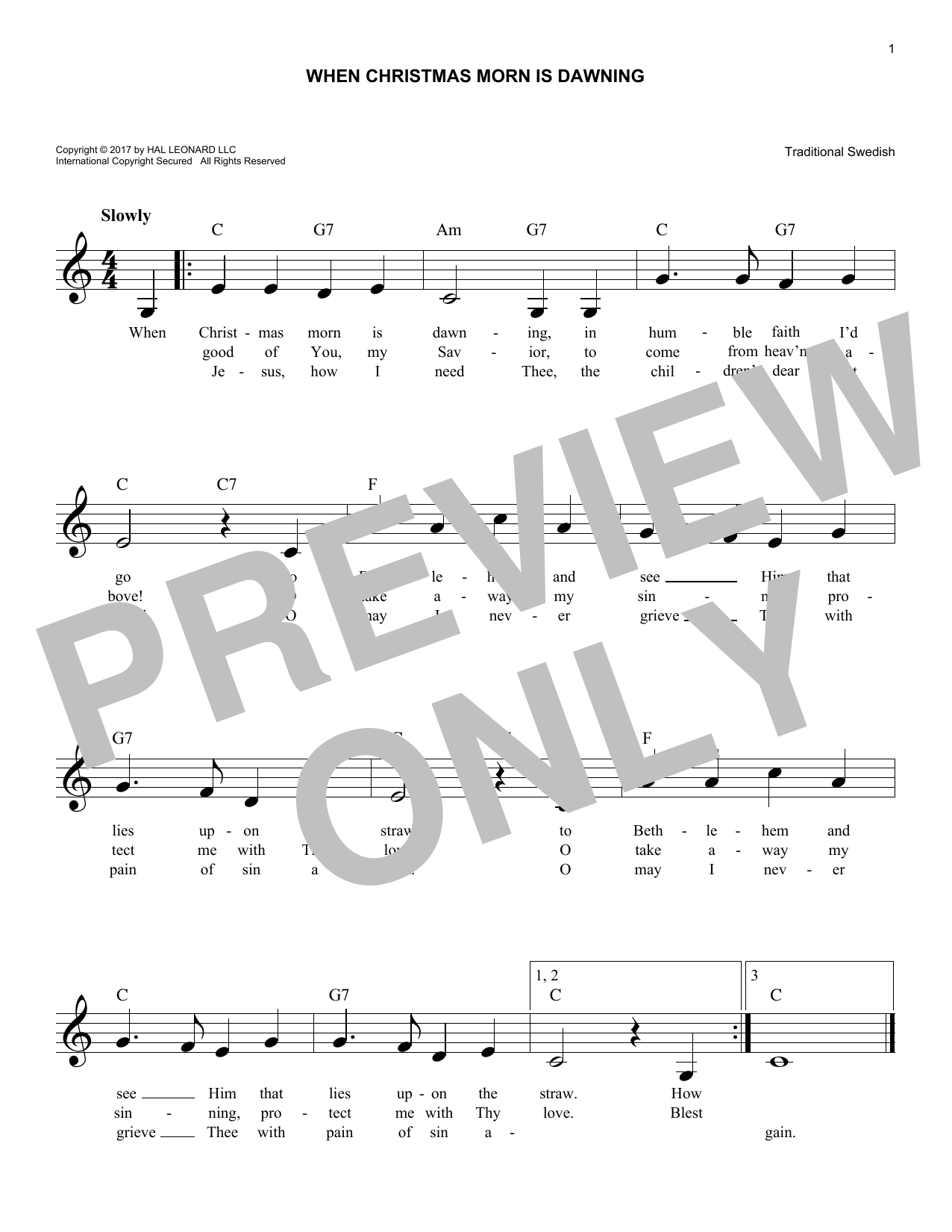 When Christmas Morn Is Dawning (Lead Sheet / Fake Book)