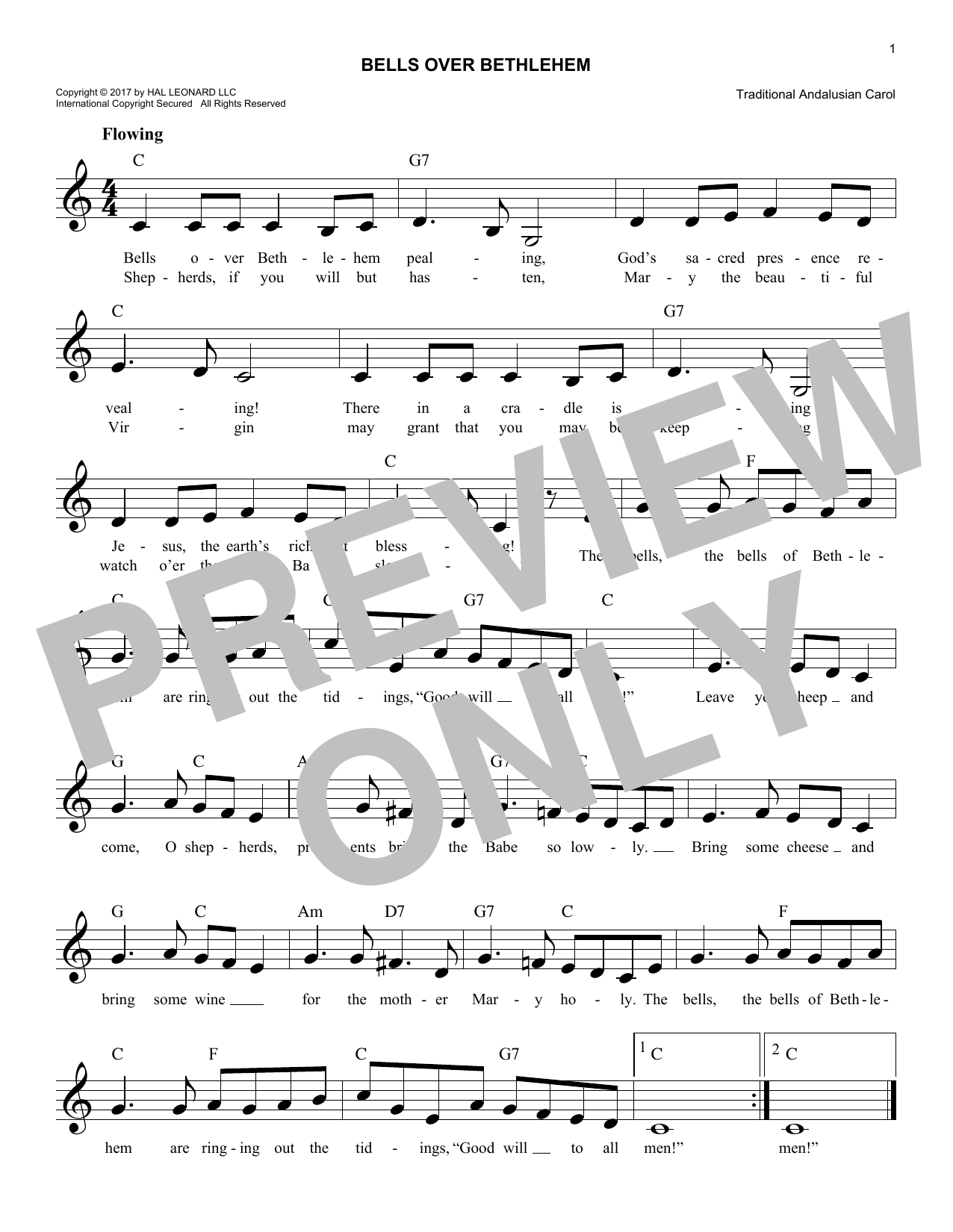 Bells Over Bethlehem (Lead Sheet / Fake Book)