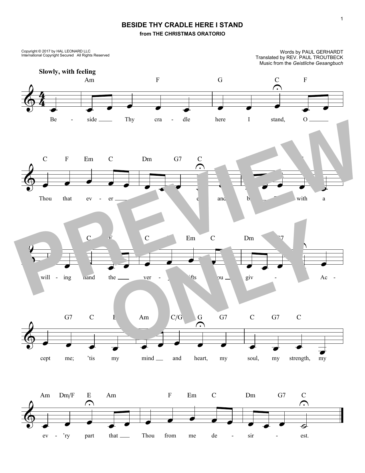 Beside Thy Cradle Here I Stand (Lead Sheet / Fake Book)