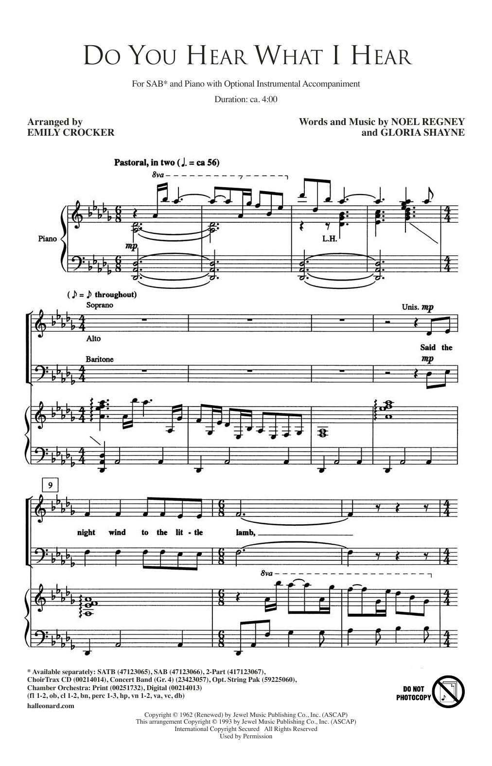 Do You Hear What I Hear (SAB Choir)