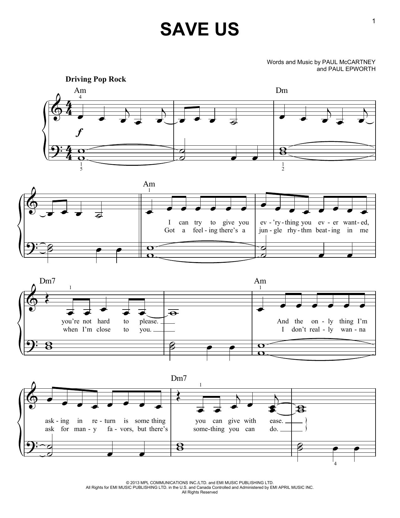 Save Us (Easy Piano)