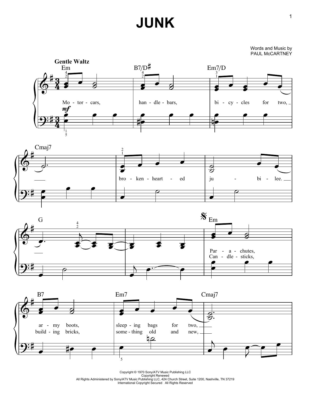 Junk (Easy Piano)