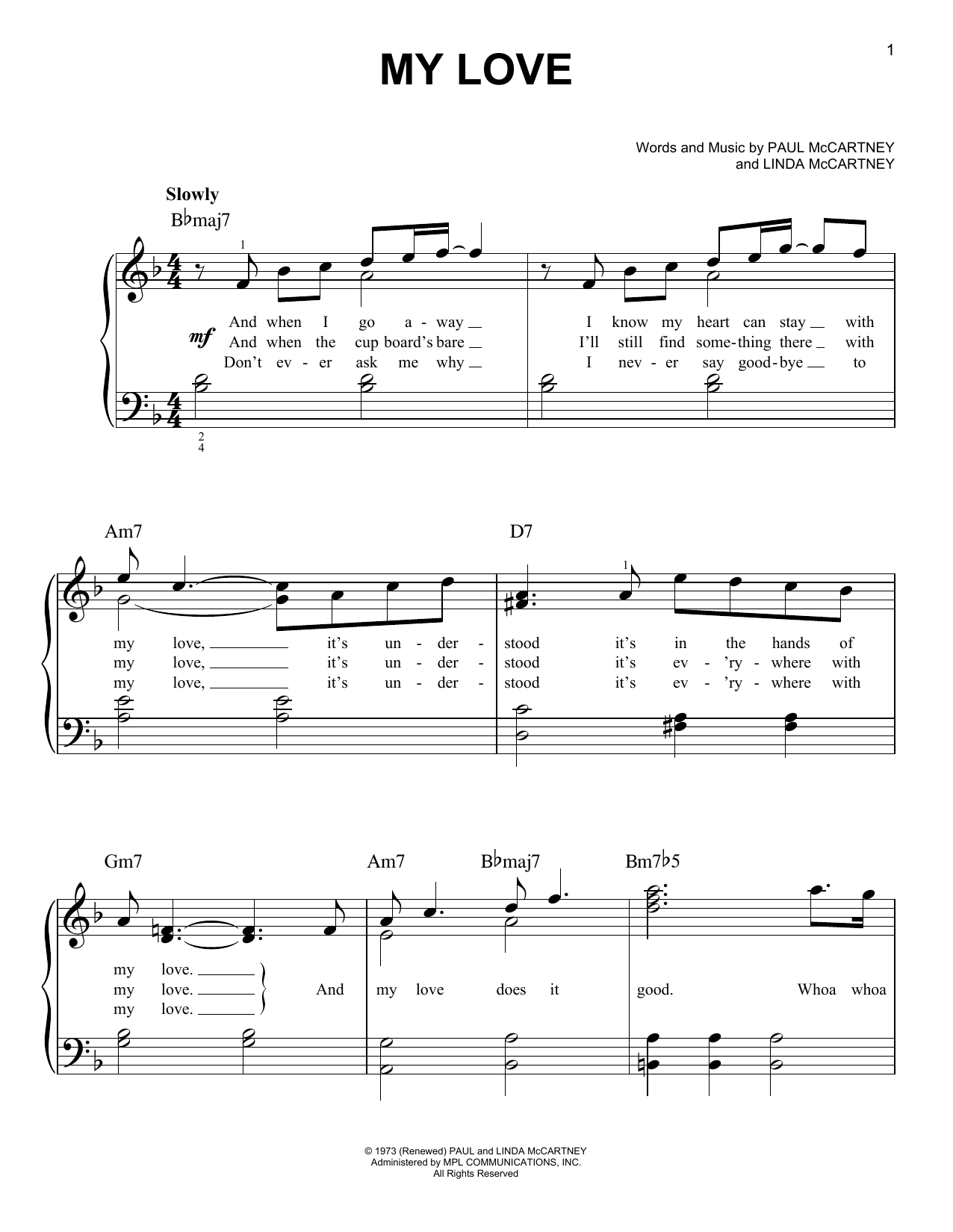 My Love (Easy Piano)