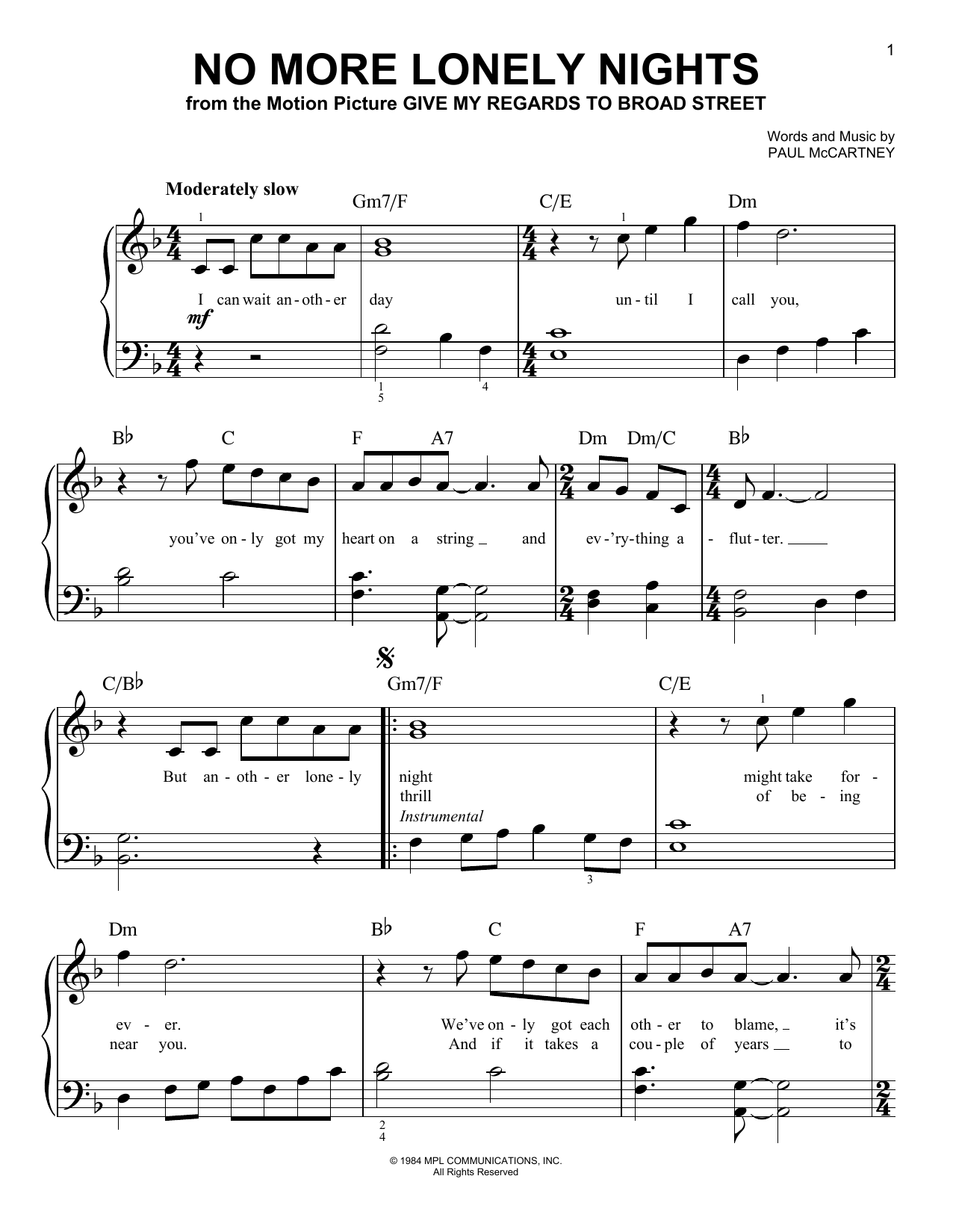 No More Lonely Nights (Easy Piano)
