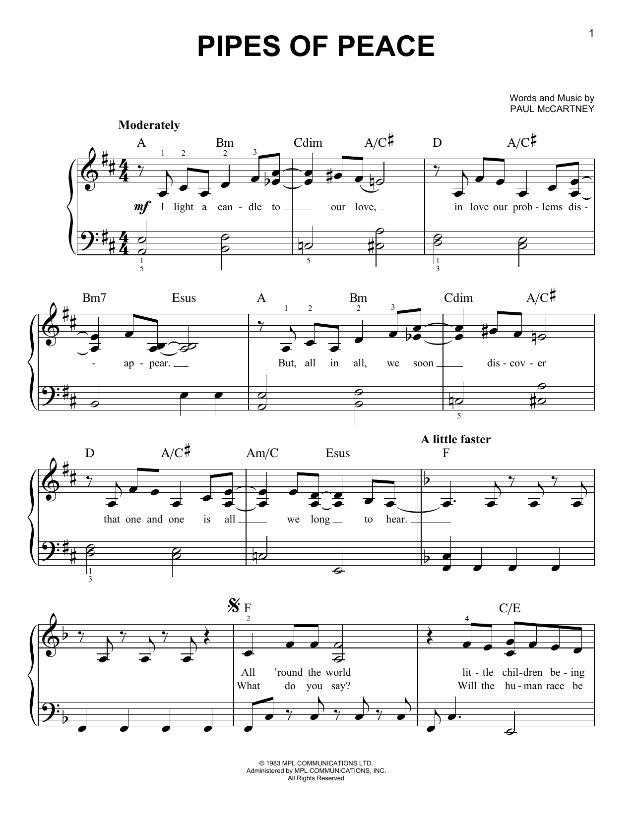 Pipes Of Peace (Easy Piano)