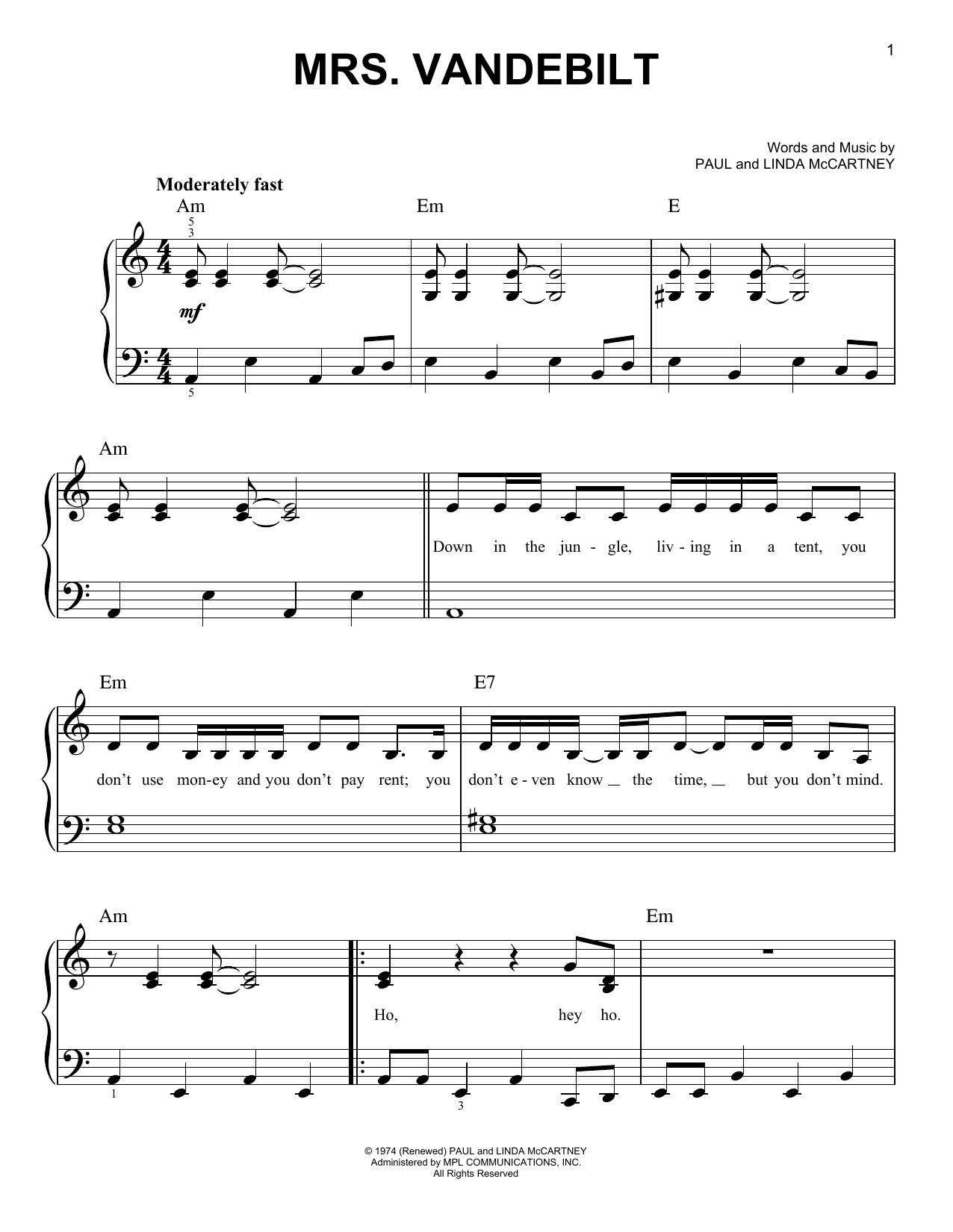 Mrs. Vandebilt (Easy Piano)