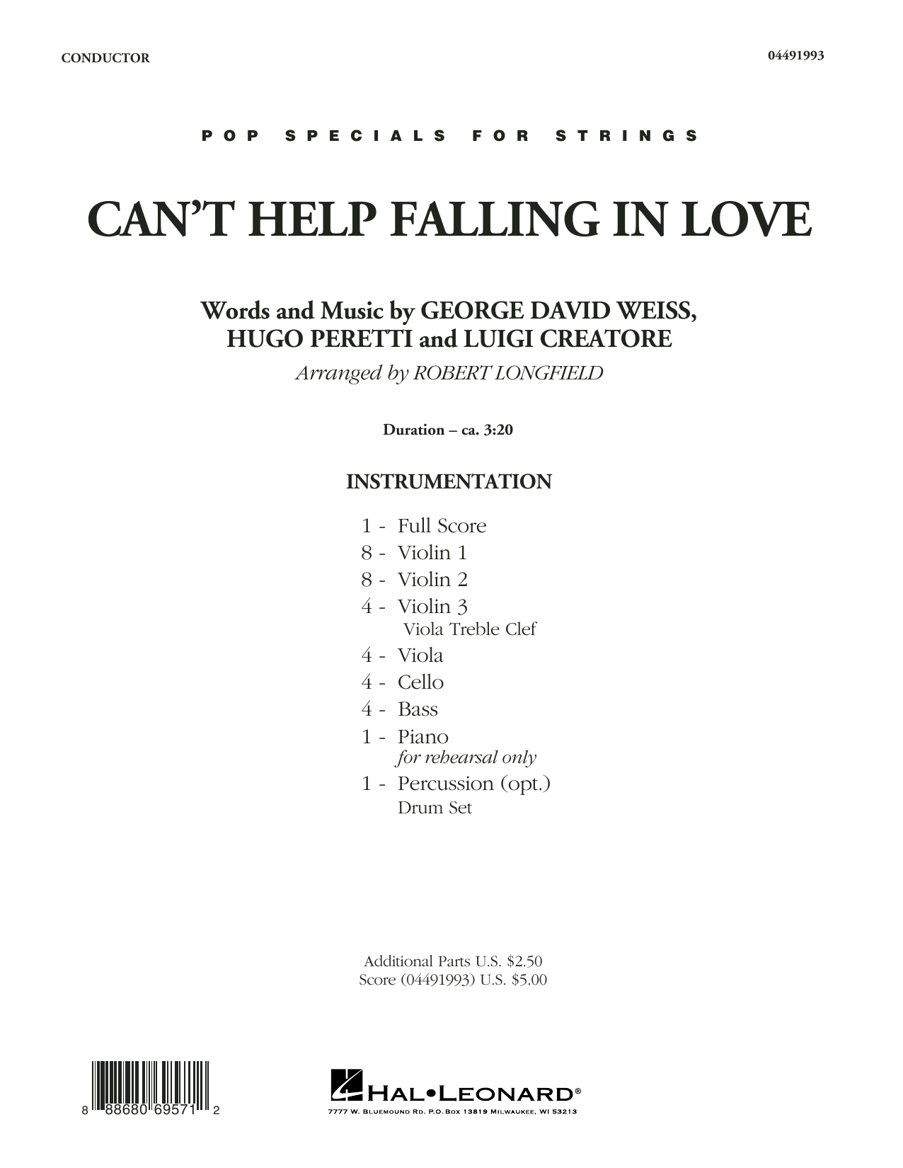 Can't Help Falling in Love - Conductor Score (Full Score) (Orchestra)