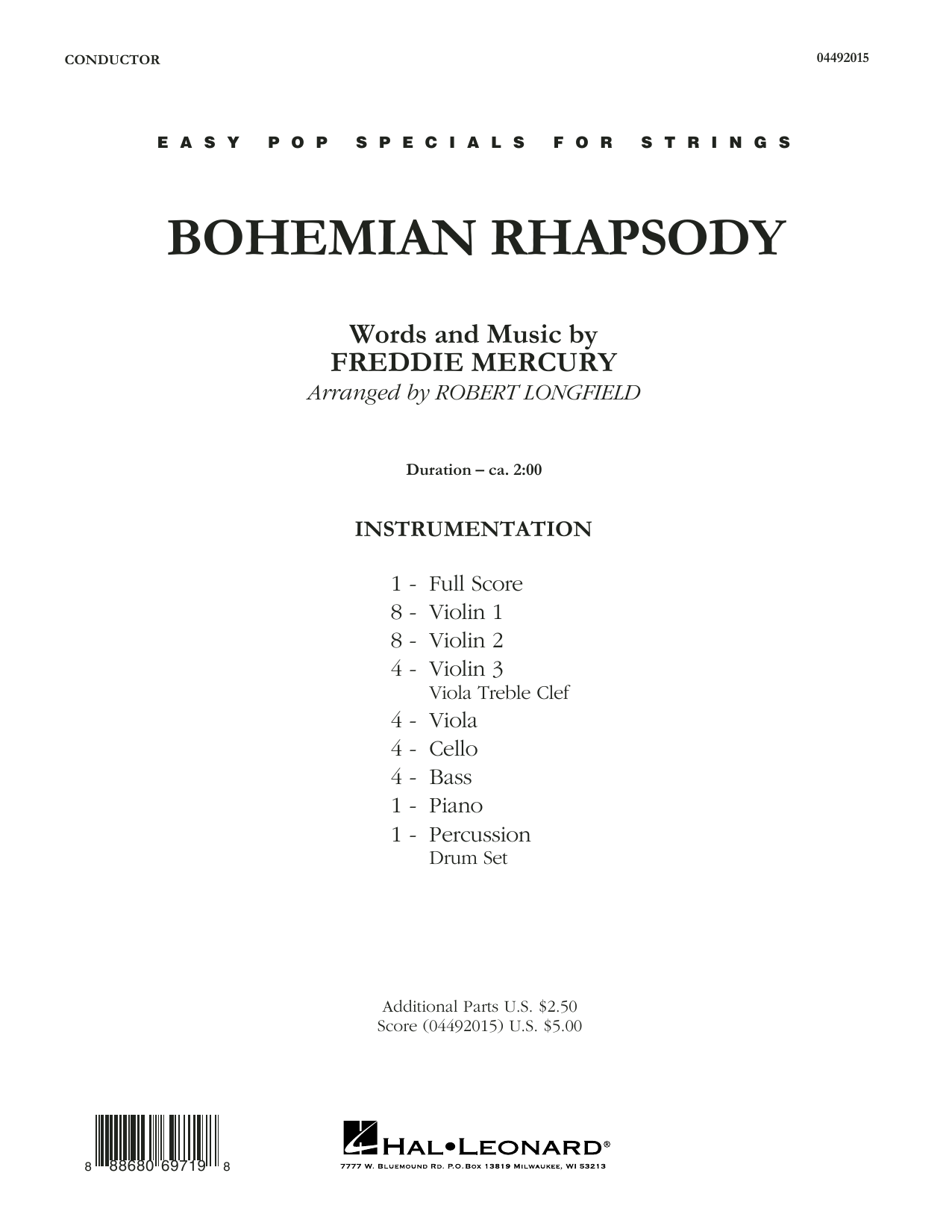 Bohemian Rhapsody (COMPLETE) sheet music for orchestra by Robert Longfield, Freddie Mercury and Queen. Score Image Preview.