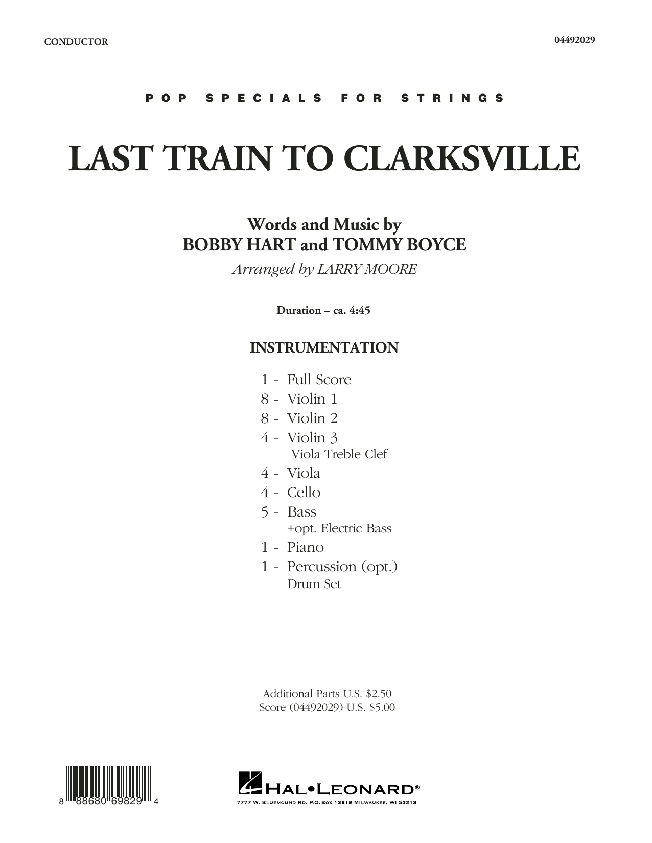 Last Train to Clarksville (COMPLETE) sheet music for orchestra by Larry Moore, The Monkees and Tommy Boyce. Score Image Preview.