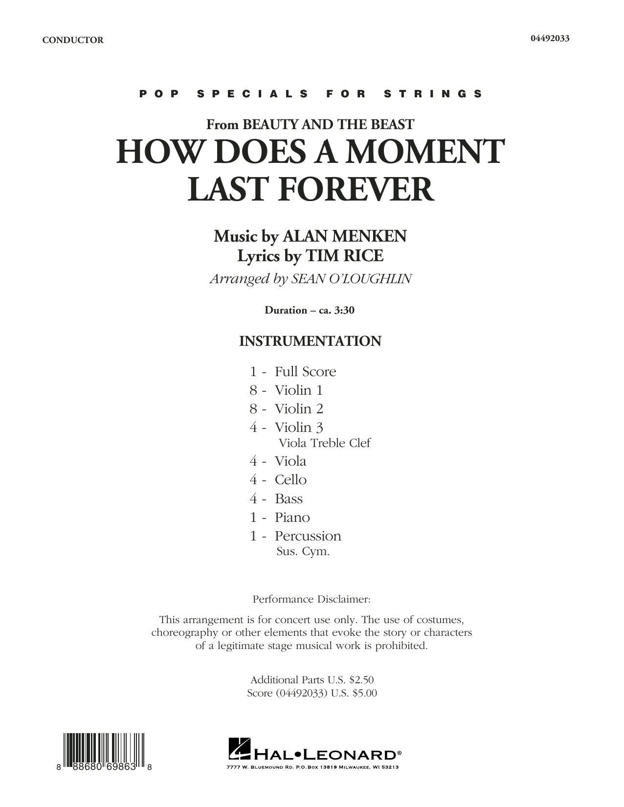 How Does a Moment Last Forever (from Beauty and the Beast) (COMPLETE) sheet music for orchestra by Alan Menken and Tim Rice. Score Image Preview.