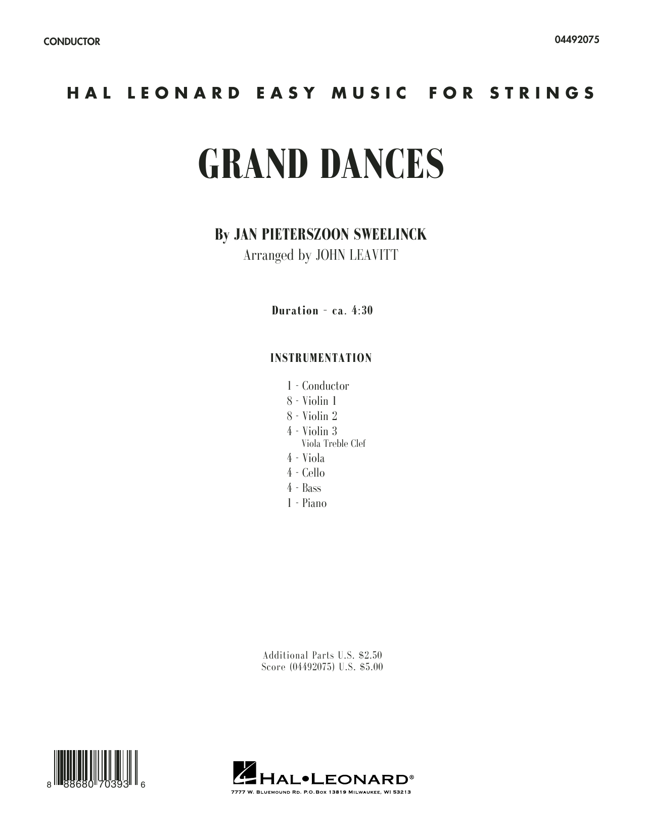 Grand Dances (COMPLETE) sheet music for orchestra by John Leavitt and Jan Pieterszoon Sweelinck. Score Image Preview.