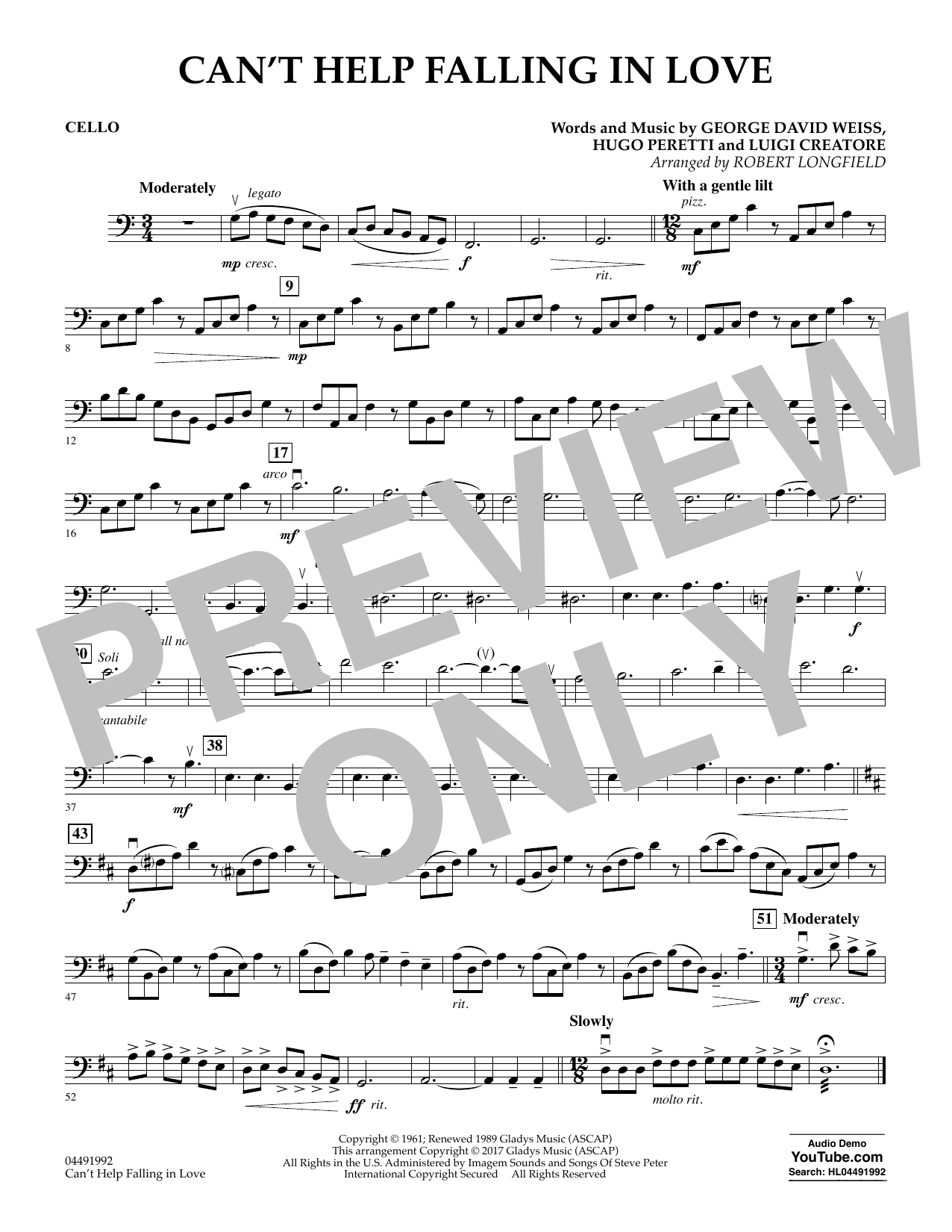 Cant Help Falling In Love Cello Sheet Music To Download