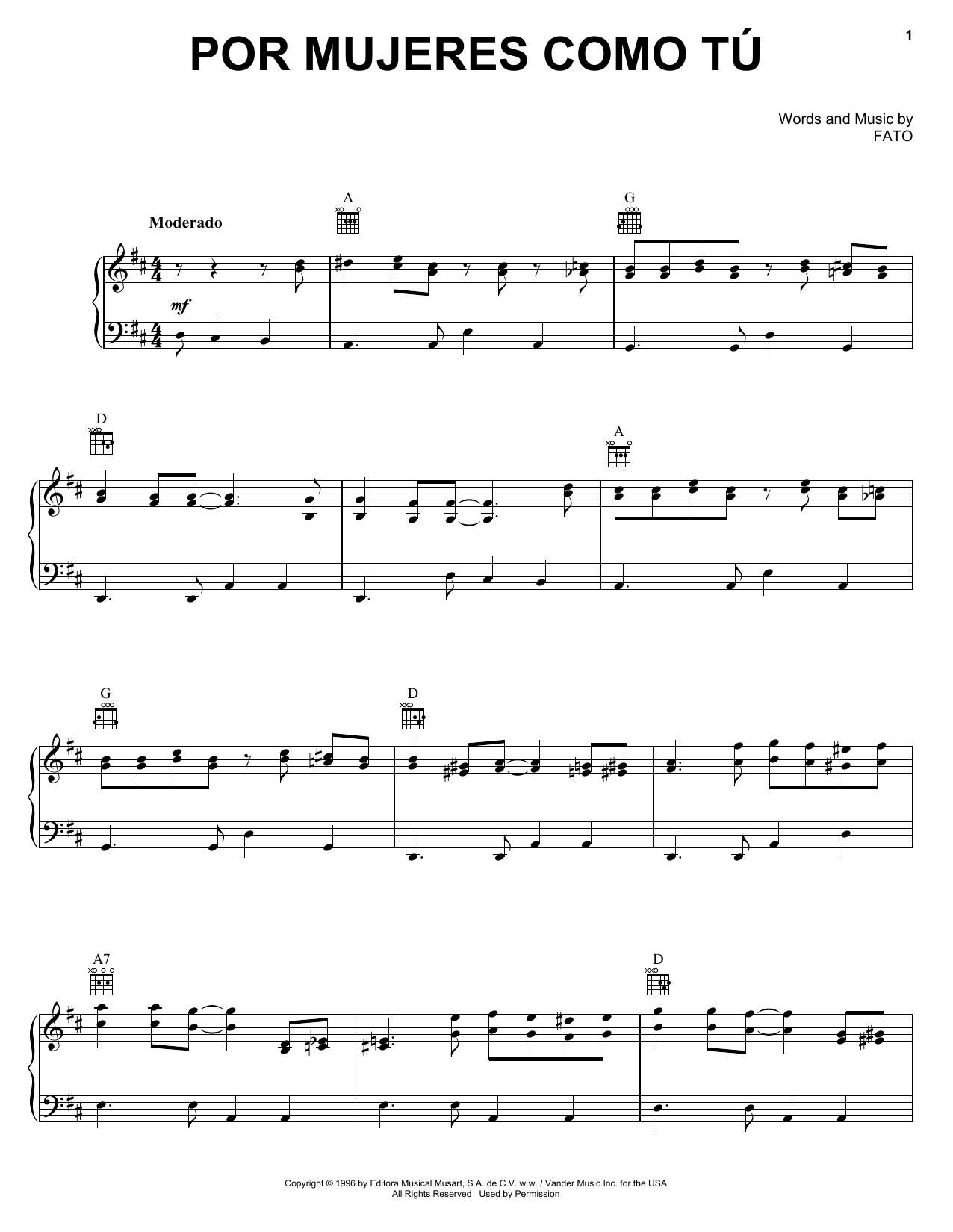 Por Mujeres Como Tu (Piano, Vocal & Guitar (Right-Hand Melody))