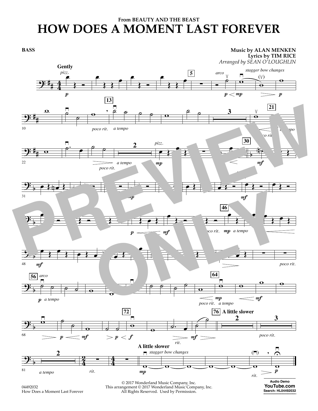 How Does a Moment Last Forever (from Beauty and the Beast) - Bass (Orchestra)