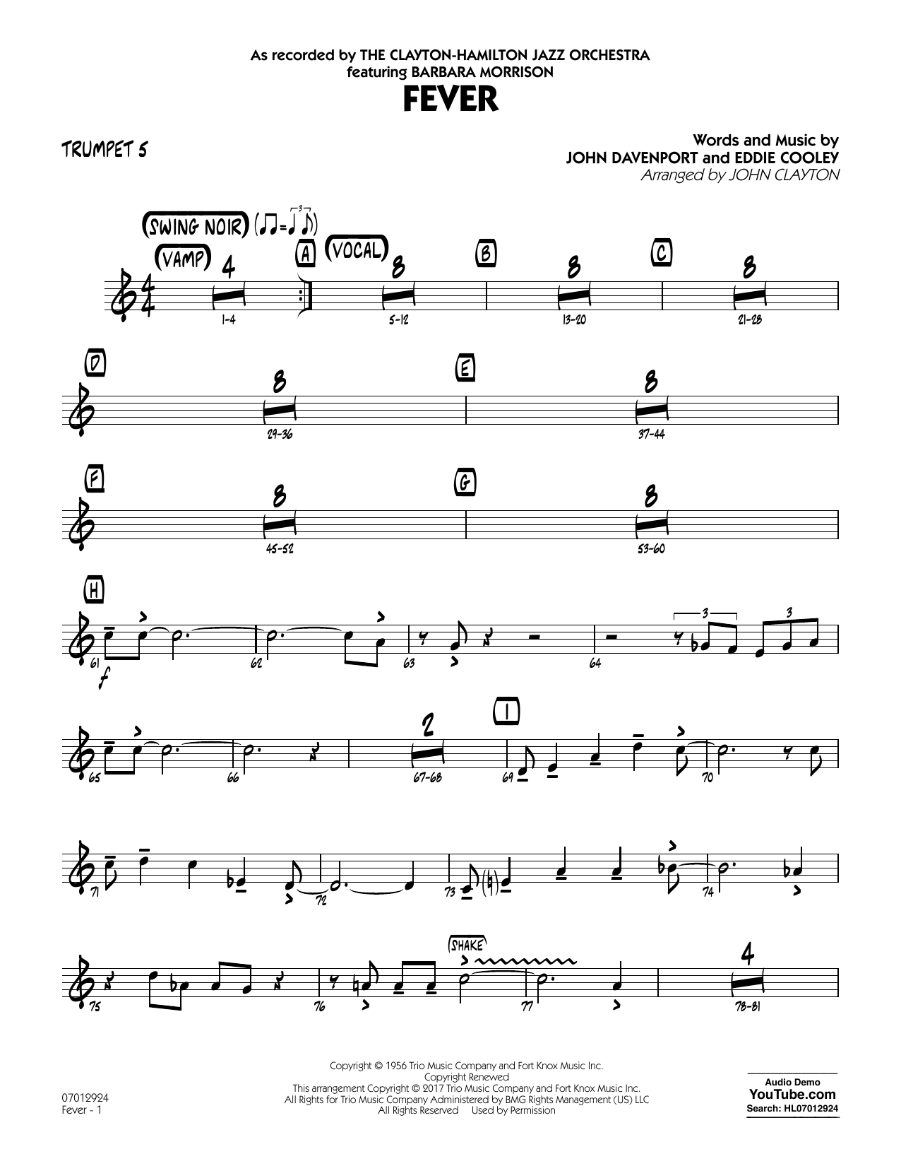 Fever (Key: G min) - Trumpet 5 - Sheet Music to Download