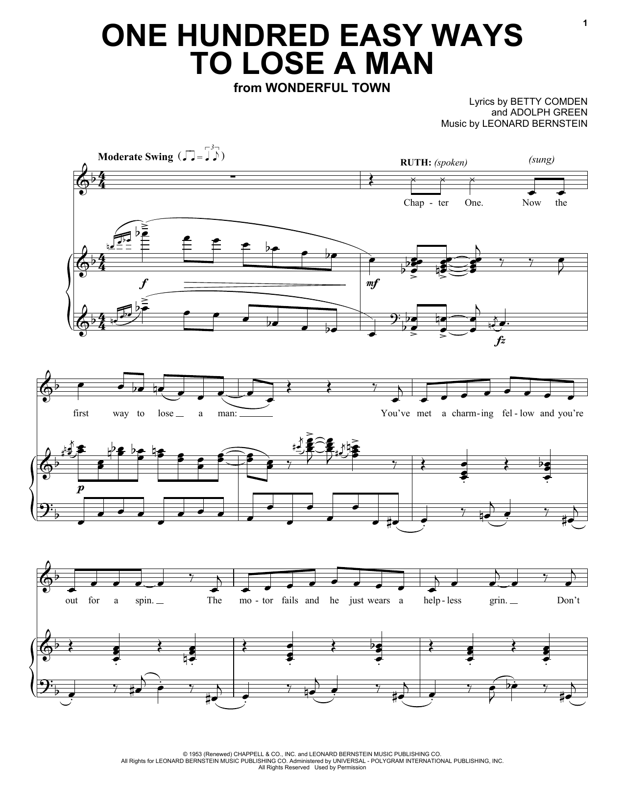 One Hundred Easy Ways To Lose A Man (Piano & Vocal)