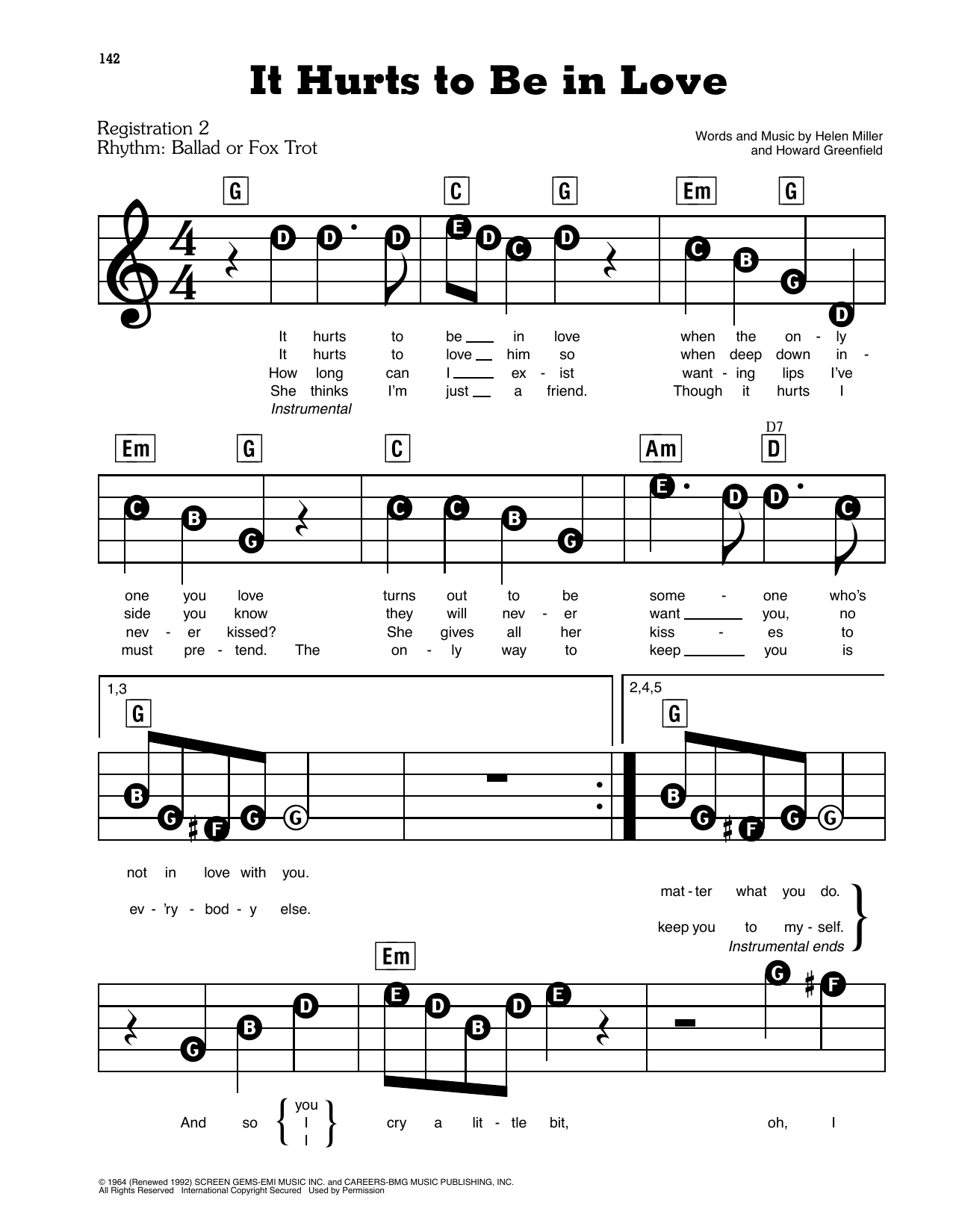 It Hurts To Be In Love Sheet Music