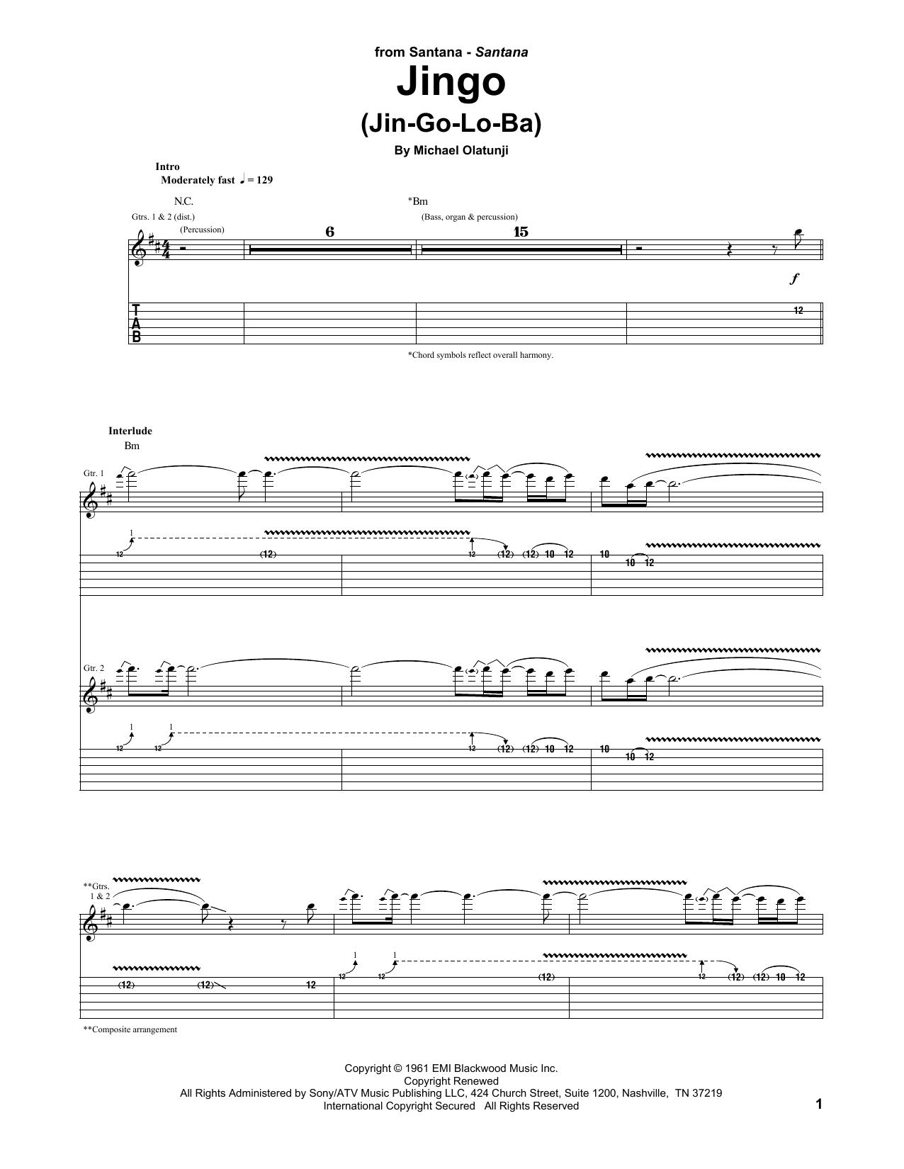 Jingo (Jin-Go-Lo-Ba) (Guitar Tab)