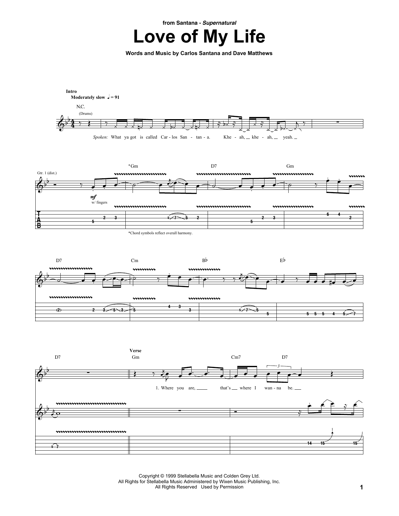 Love Of My Life (feat. Dave Matthews) (Guitar Tab)