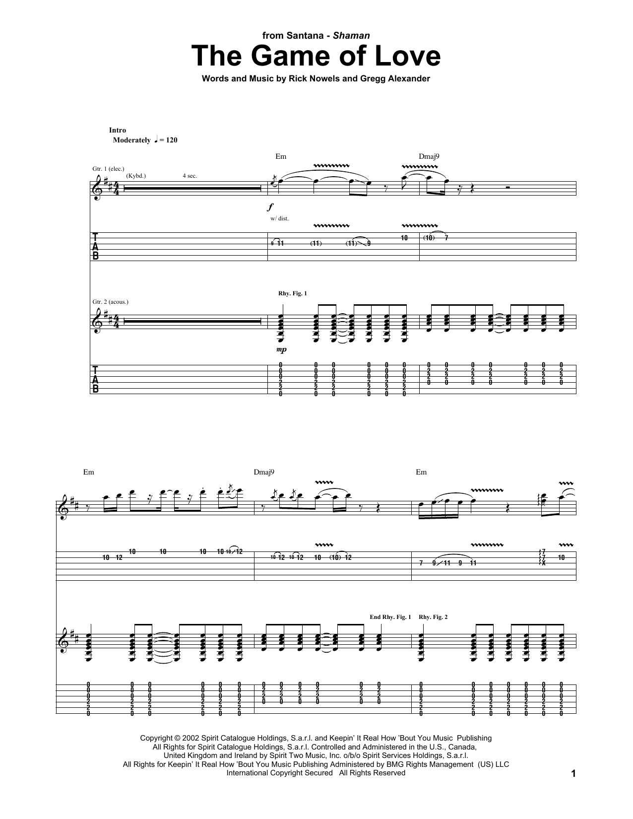 The Game Of Love (feat. Michelle Branch) (Guitar Tab)