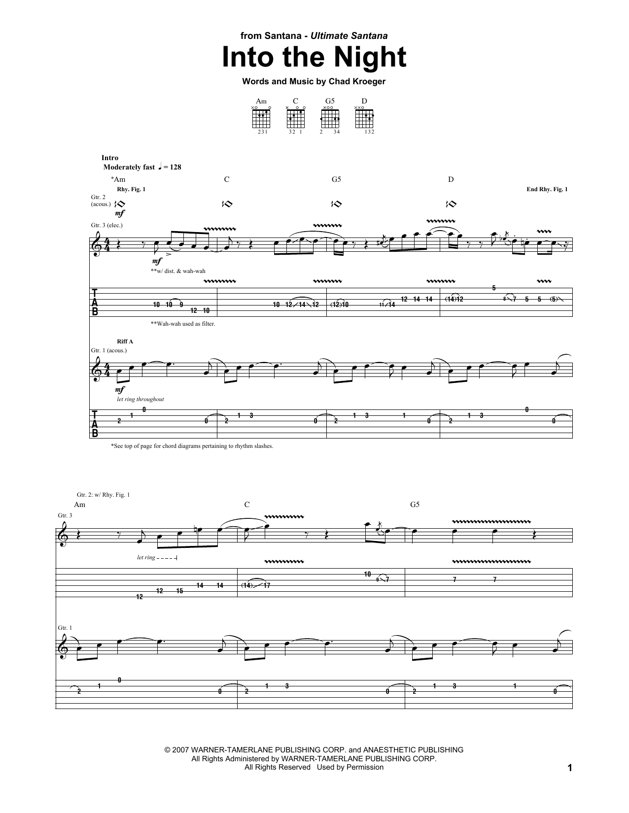 Into The Night (Guitar Tab)
