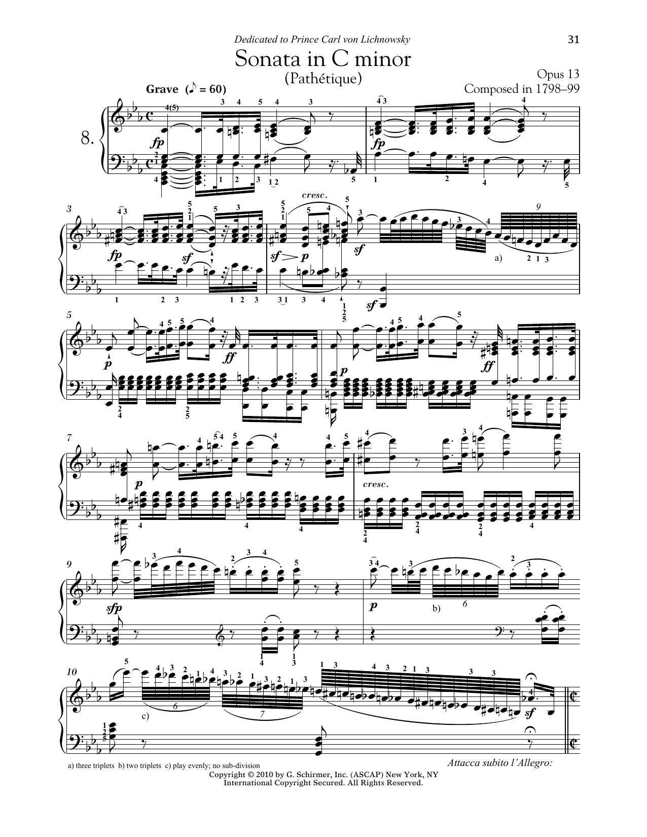 """Piano Sonata No. 8 In C Minor, Op. 13 """"Pathetique"""" Partituras Digitales"""