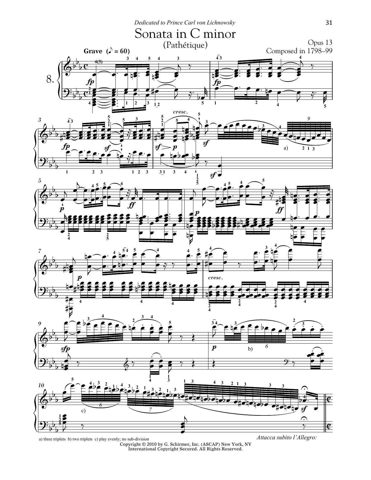 "Piano Sonata No. 8 In C Minor, Op. 13 ""Pathetique"" (Piano Solo)"