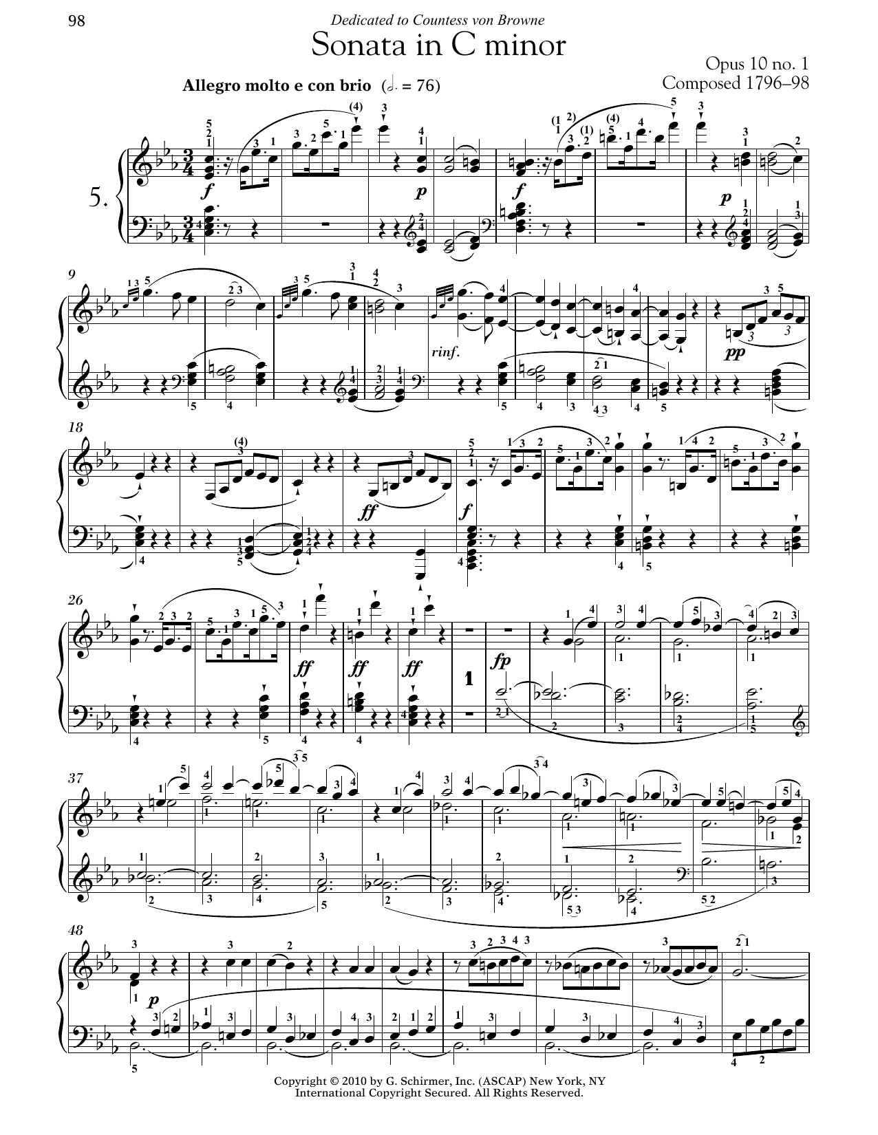 Piano Sonata No. 5 In C Minor, Op. 10, No. 1 (Piano Solo)