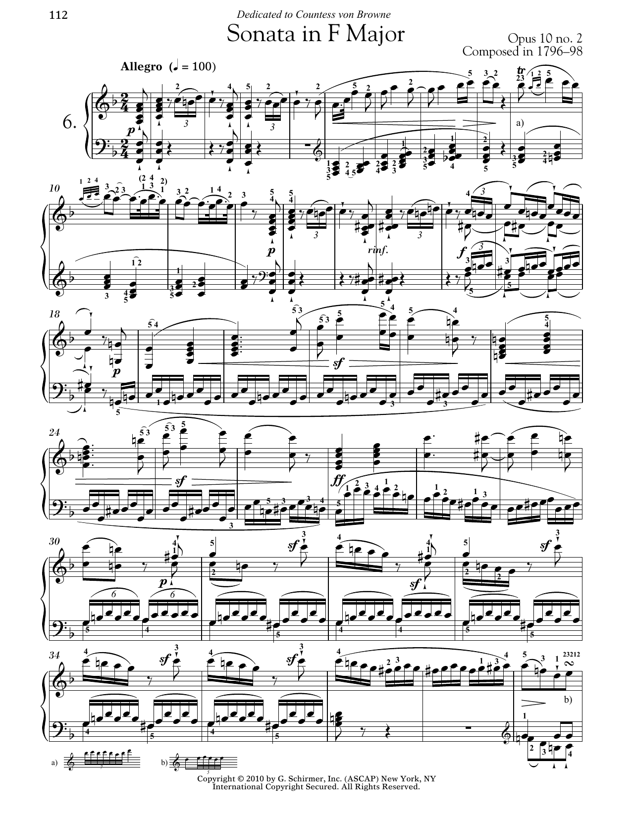 Piano Sonata No. 6 In F Major, Op. 10, No. 2 (Piano Solo)