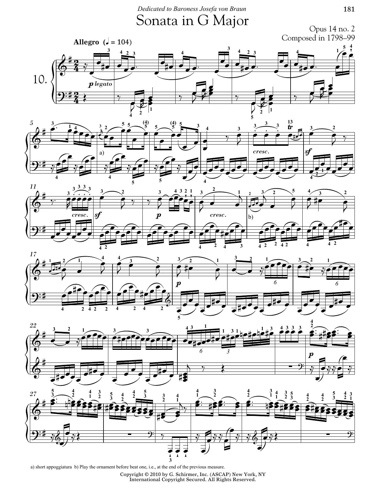 Piano Sonata No. 10 In G Major, Op. 14, No. 2 (Piano Solo)