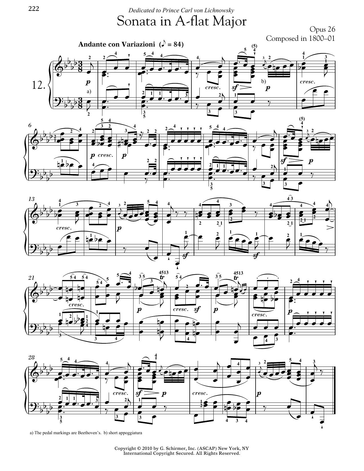 Piano Sonata No. 12 In A-flat Major, Op. 26 (Piano Solo)