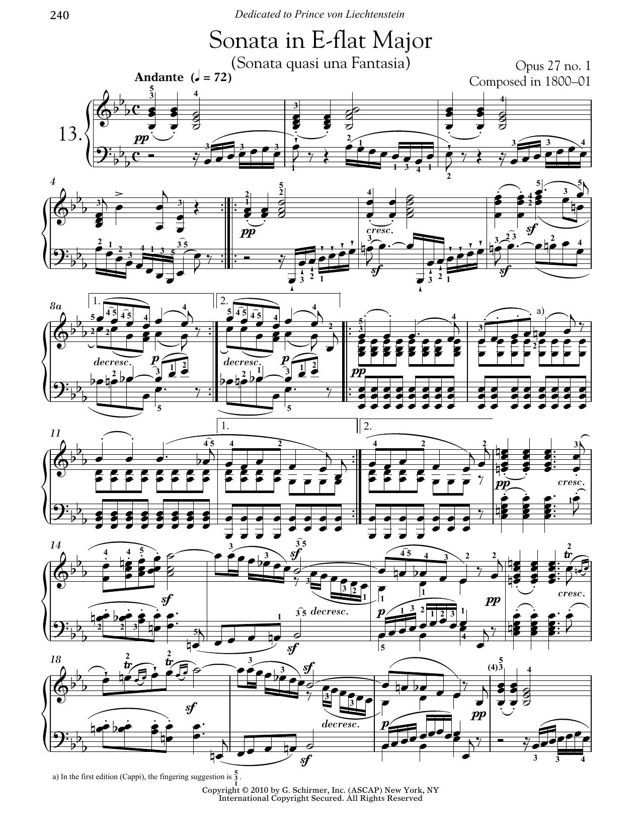 Piano Sonata No. 13 In E-flat Major, Op. 27, No. 1 Partituras Digitales