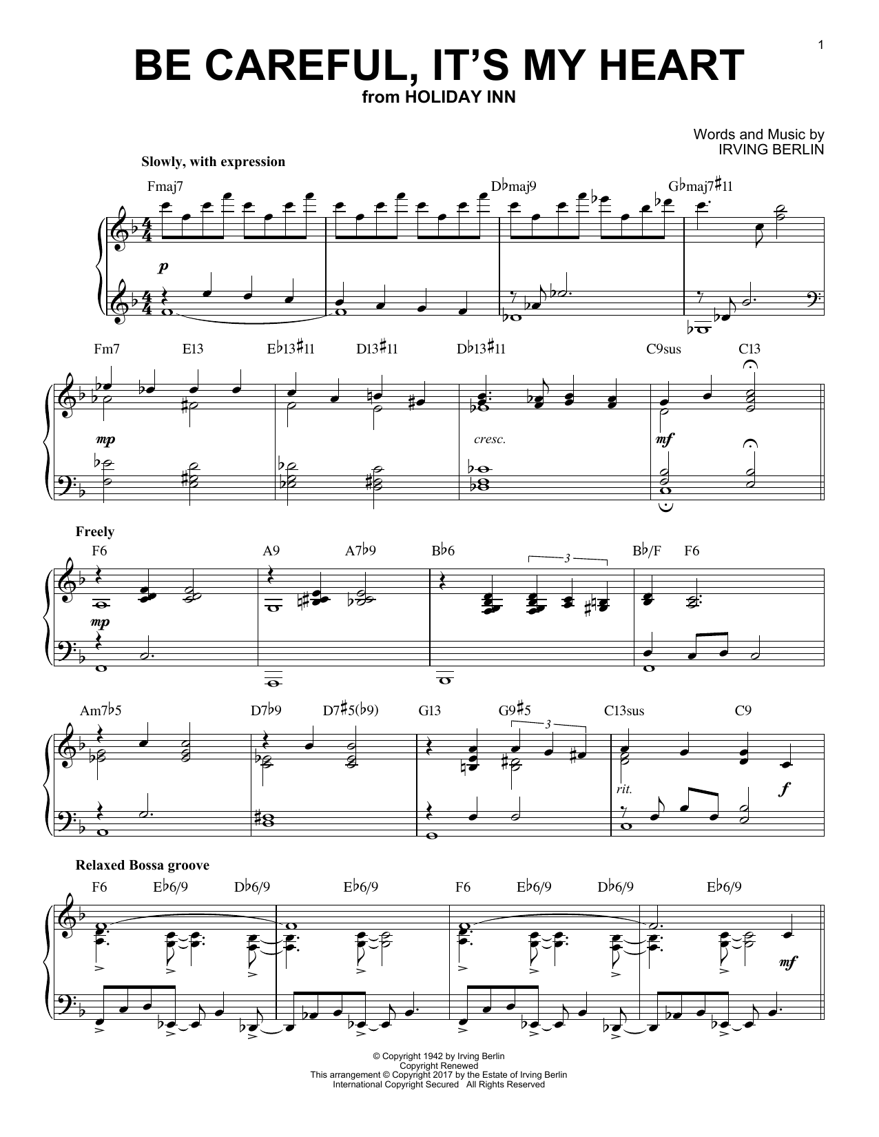 Be Careful, It's My Heart (Piano Solo)