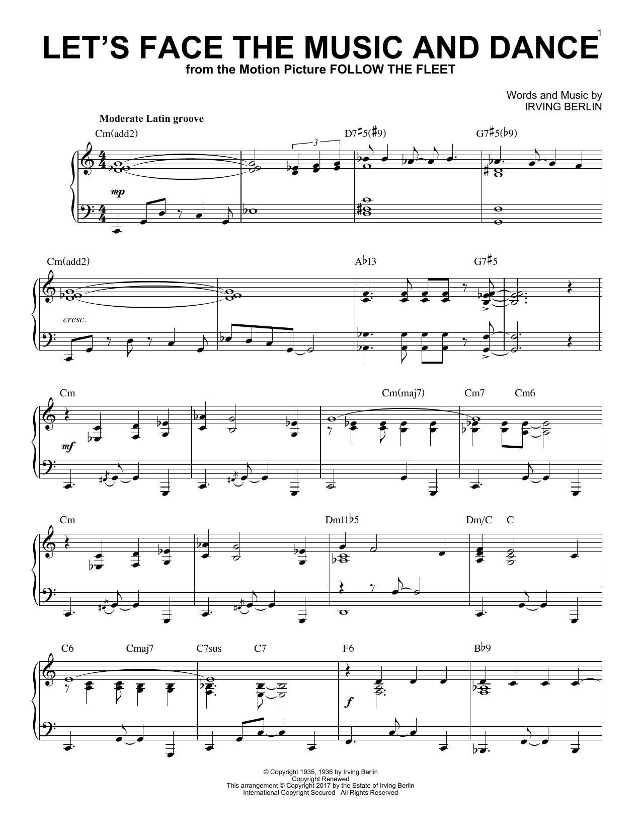 Let's Face The Music And Dance [Jazz version] (Piano Solo)