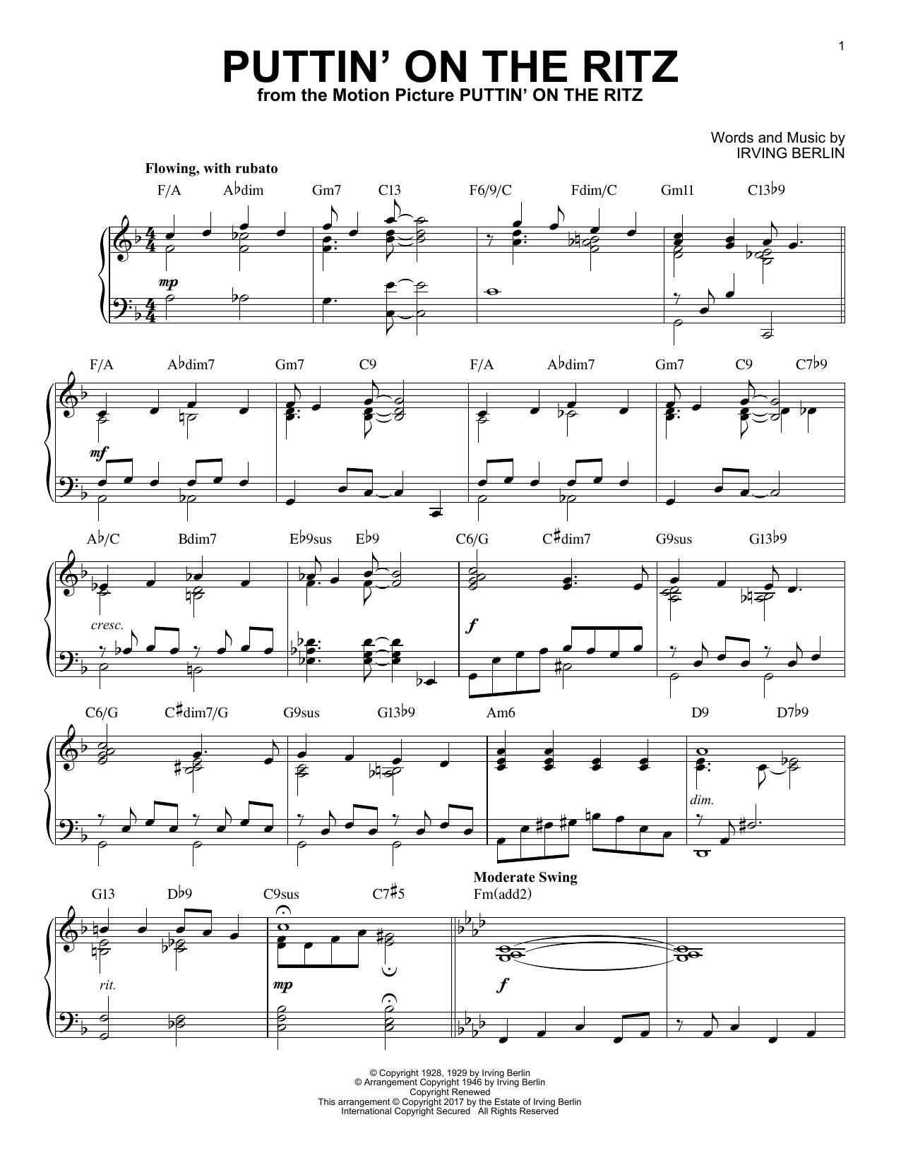 Puttin' On The Ritz [Jazz version] (Piano Solo)