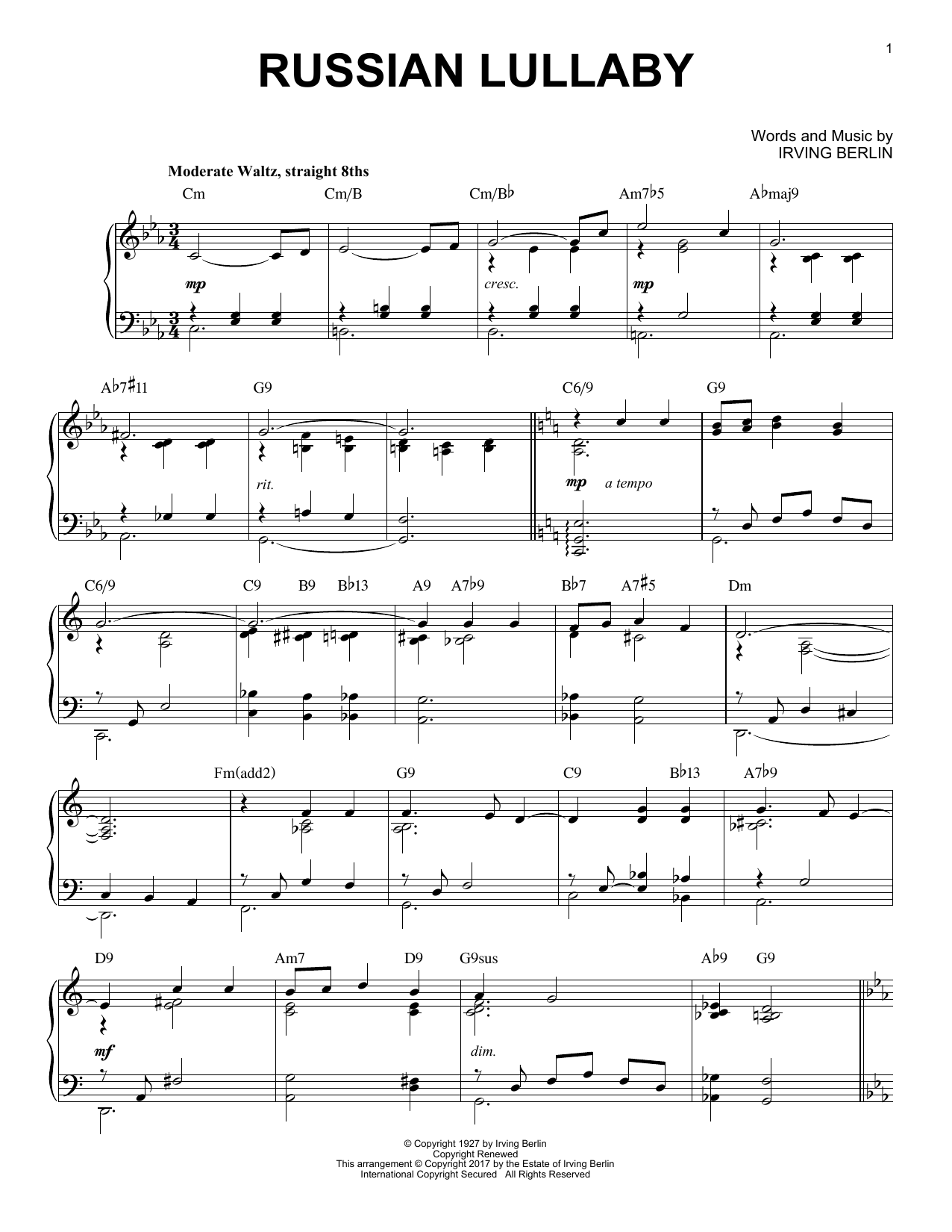 Russian Lullaby [Jazz version] (Piano Solo)
