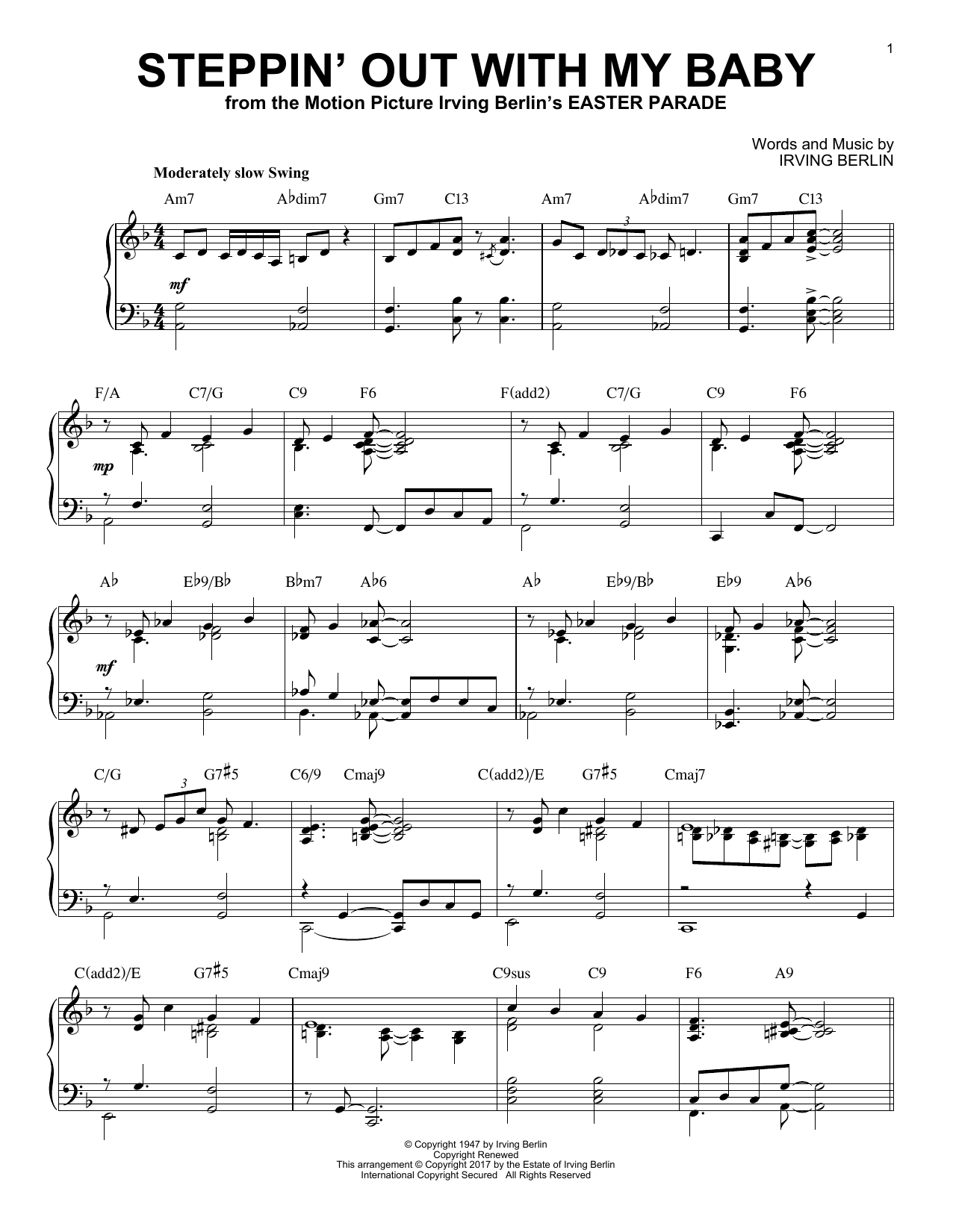 Steppin' Out With My Baby [Jazz version] (Piano Solo)
