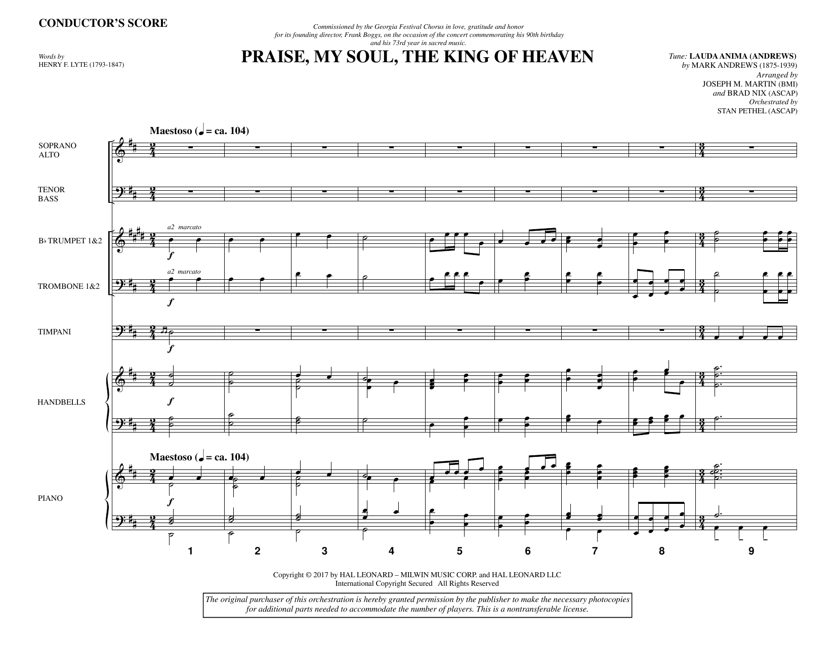 Praise, My Soul, the King of Heaven (COMPLETE) sheet music for orchestra/band by Joseph M. Martin, Brad Nix, Henry F. Lyte, John Goss and Mark Andrews. Score Image Preview.