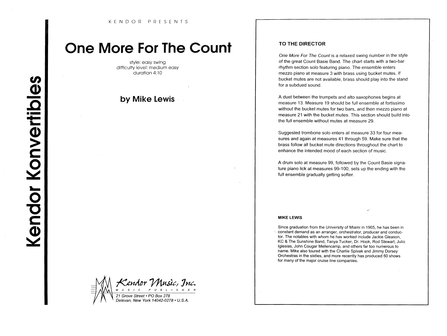 One More For The Count (COMPLETE) sheet music for jazz band by Mike Lewis. Score Image Preview.
