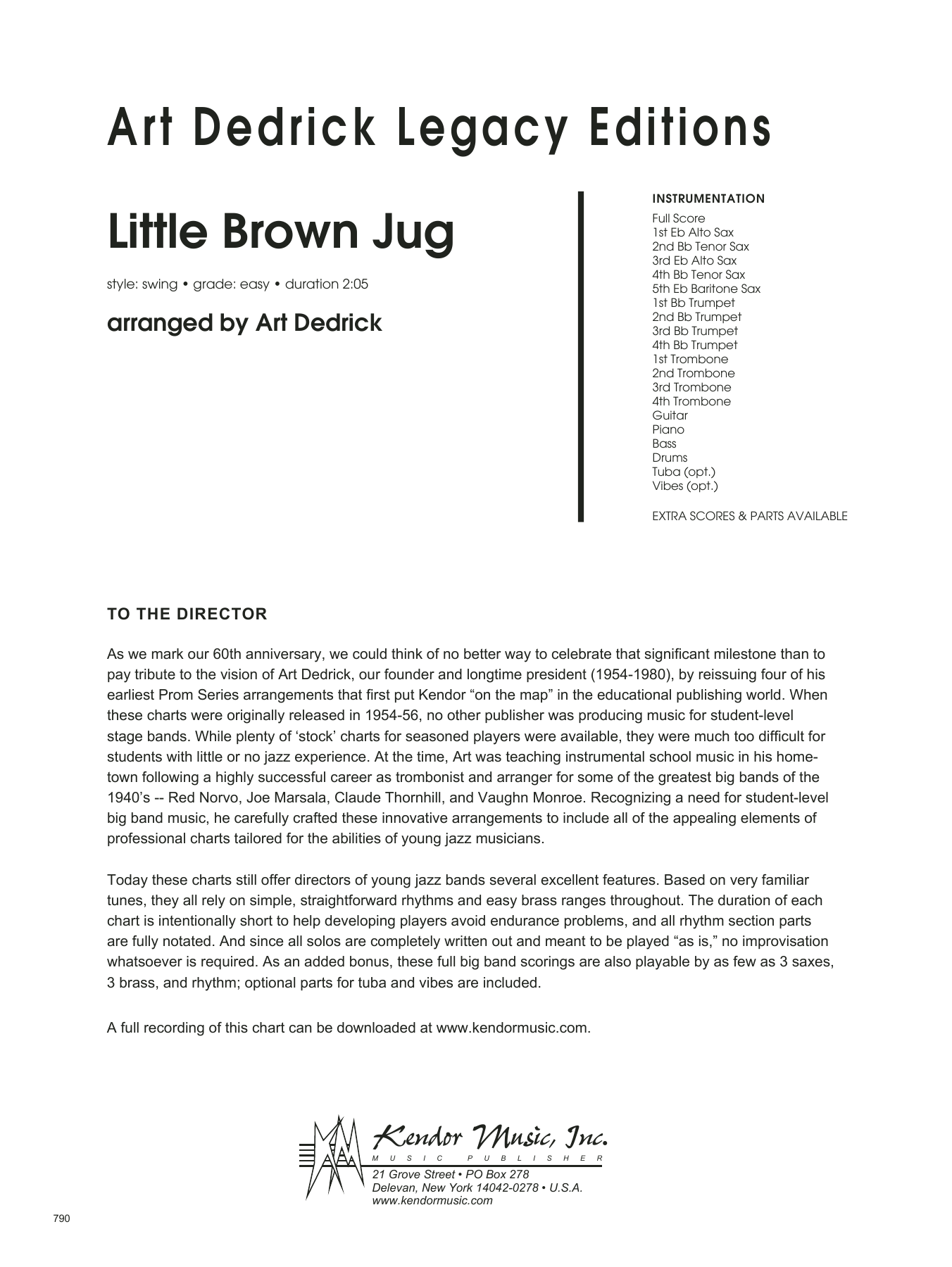 Little Brown Jug (COMPLETE) sheet music for jazz band by Art Dedrick and Miscellaneous. Score Image Preview.