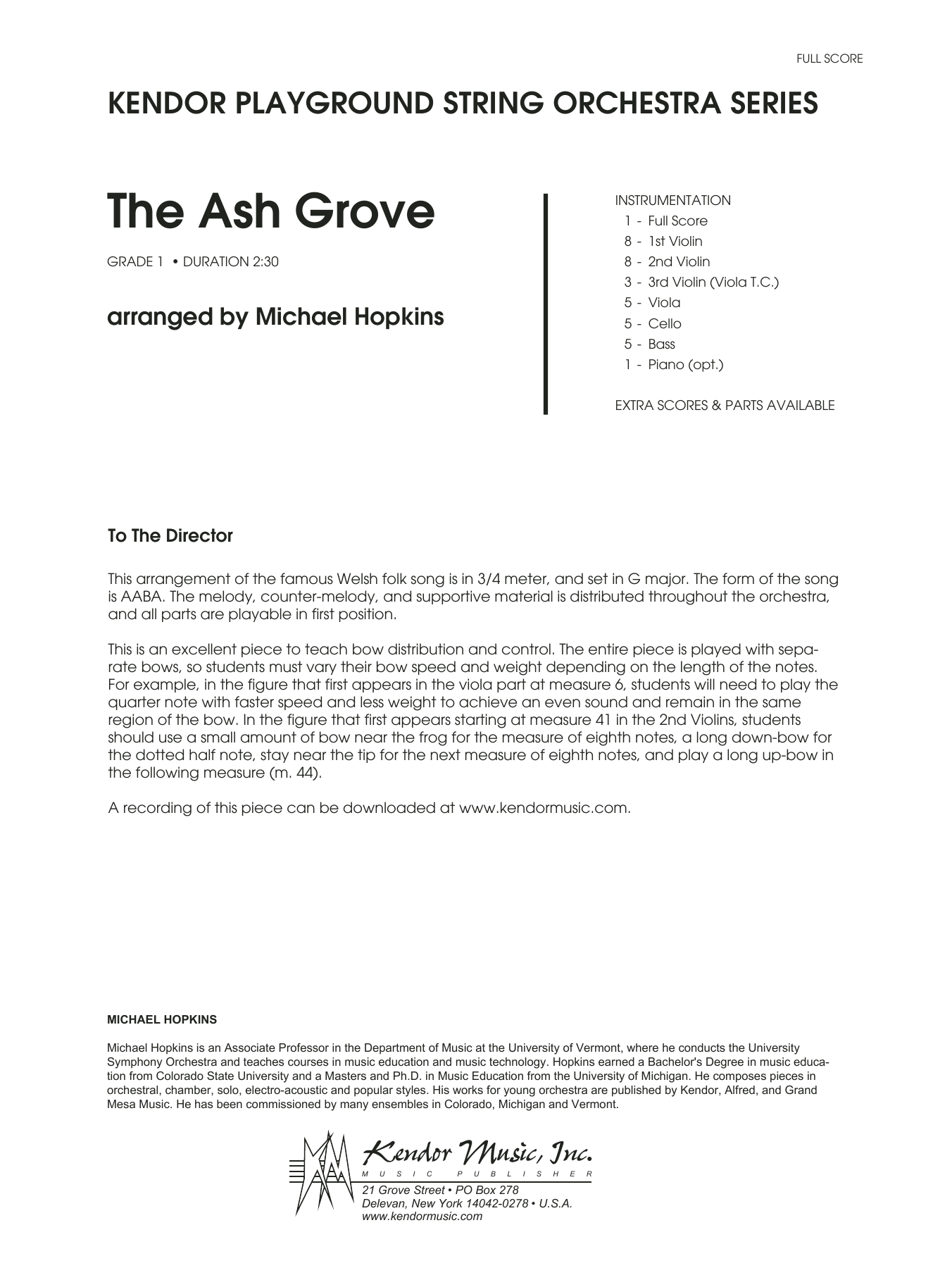 The Ash Grove (COMPLETE) sheet music for orchestra by Michael Hopkins and Miscellaneous. Score Image Preview.