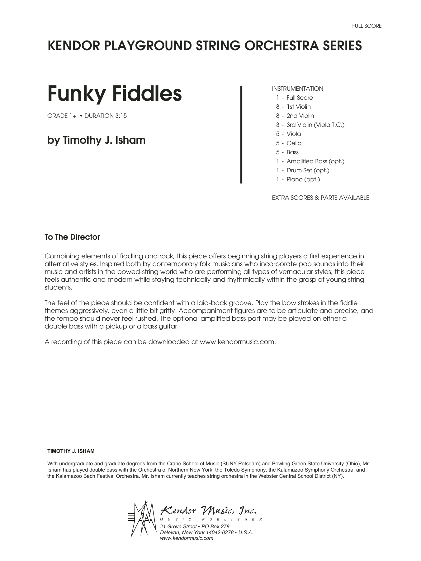 Funky Fiddles (COMPLETE) sheet music for orchestra by Timothy Isham. Score Image Preview.