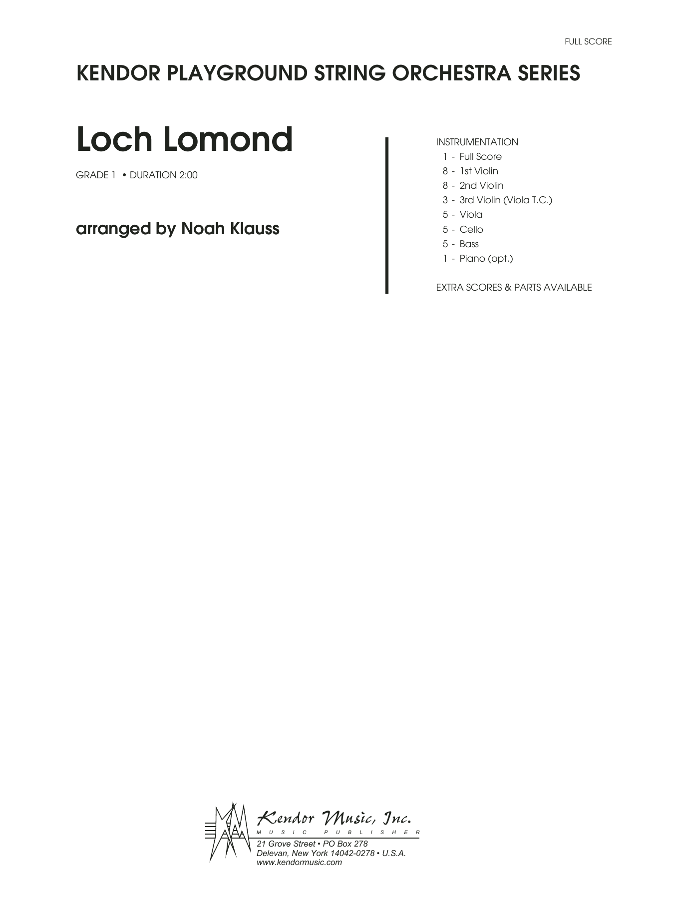Loch Lomond (COMPLETE) sheet music for orchestra by Noah Klauss and Miscellaneous. Score Image Preview.