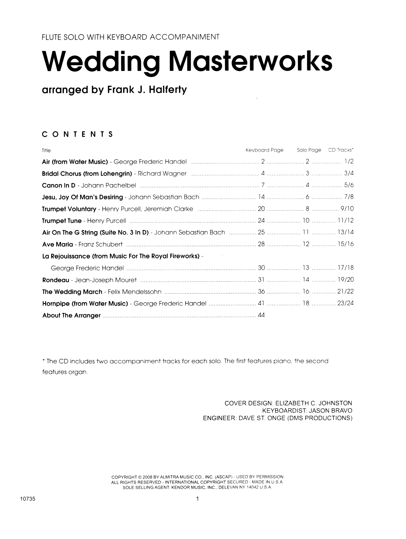 Wedding Masterworks - Flute (complete set of parts) sheet music for flaute and piano by Frank J. Halferty and Miscellaneous. Score Image Preview.