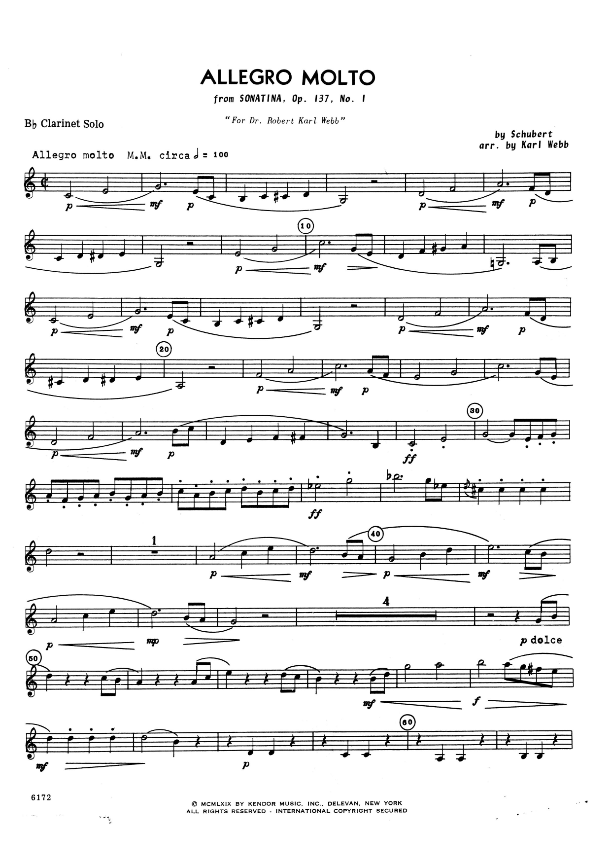 Allegro Molto (from Sonatina, Opus 137, No. 1) (complete set of parts) sheet music for clarinet and piano by Franz Schubert. Score Image Preview.