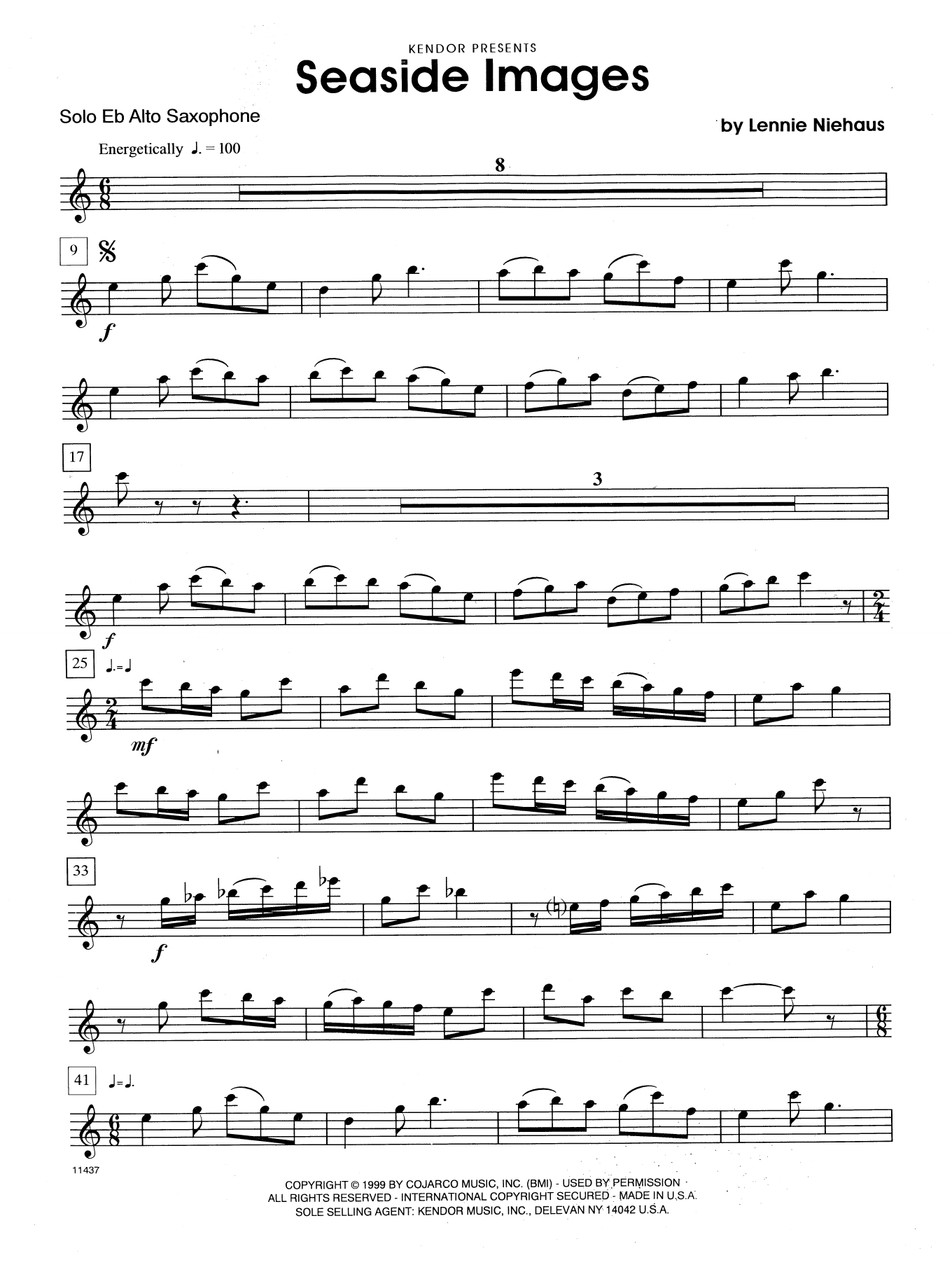 Seaside Images (complete set of parts) sheet music for alto saxophone and piano by Lennie Niehaus. Score Image Preview.