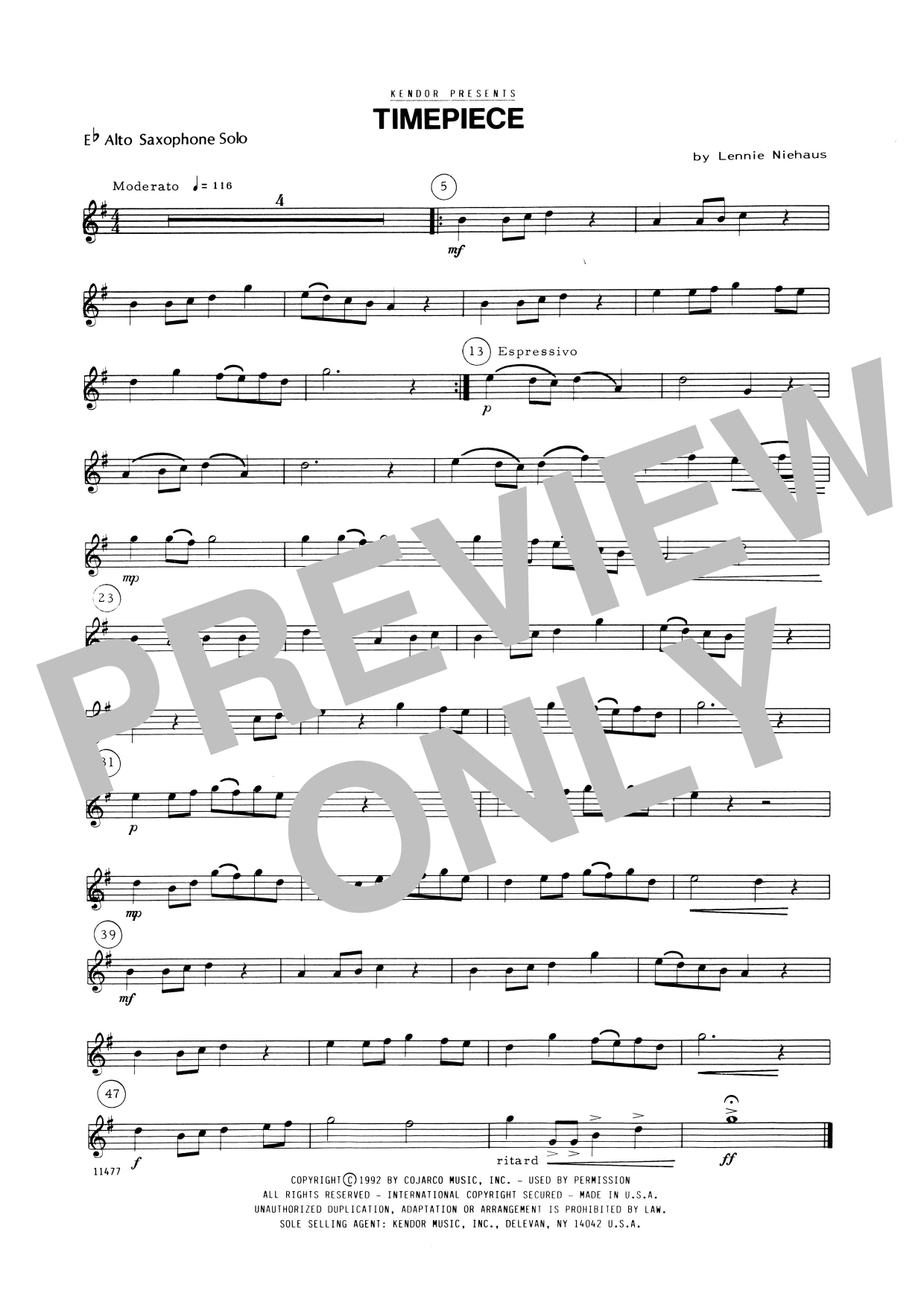 Timepiece (complete set of parts) sheet music for alto saxophone and piano by Lennie Niehaus. Score Image Preview.